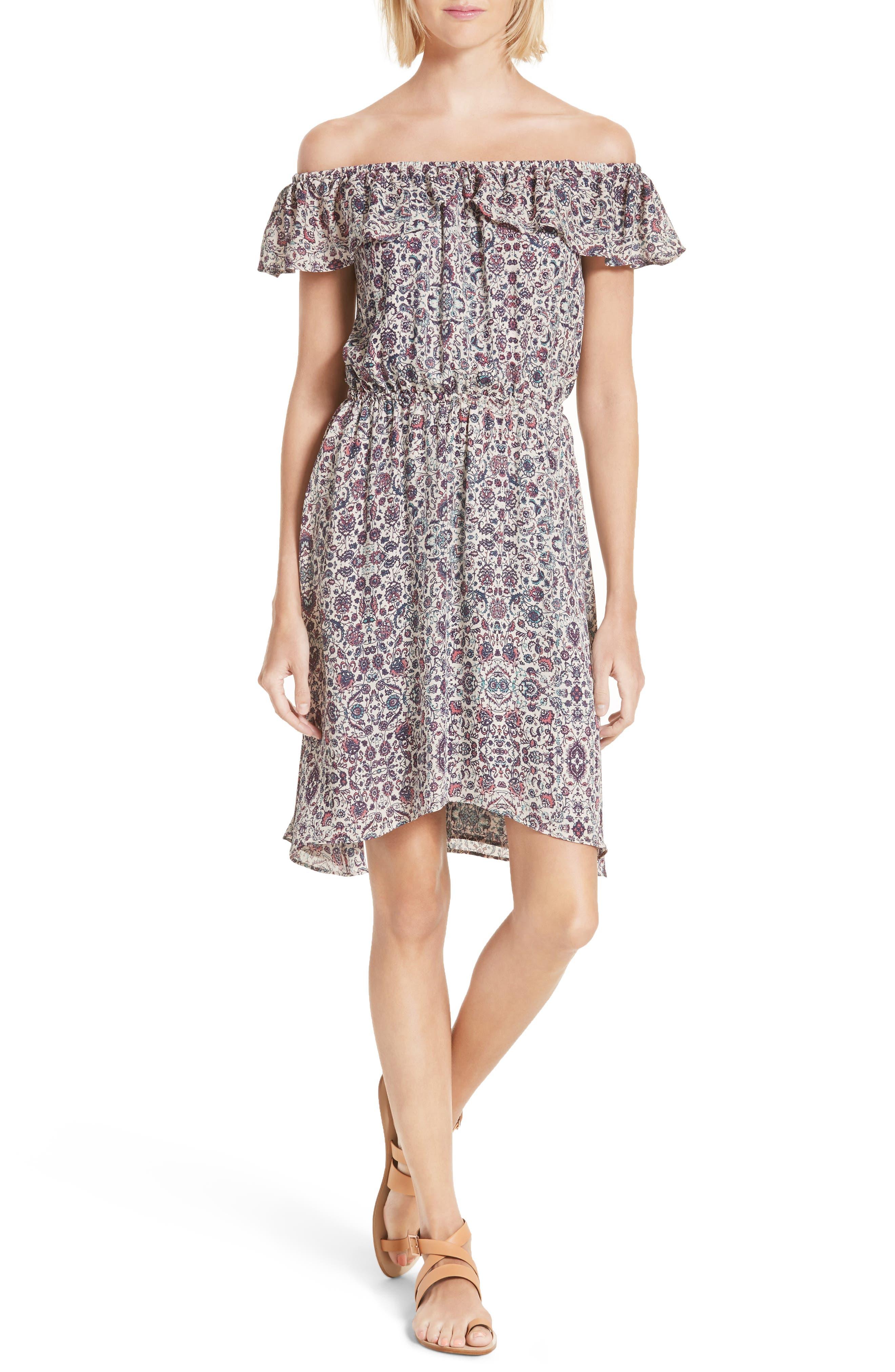 L'AGENCE Leonie Print Off the Shoulder Dress