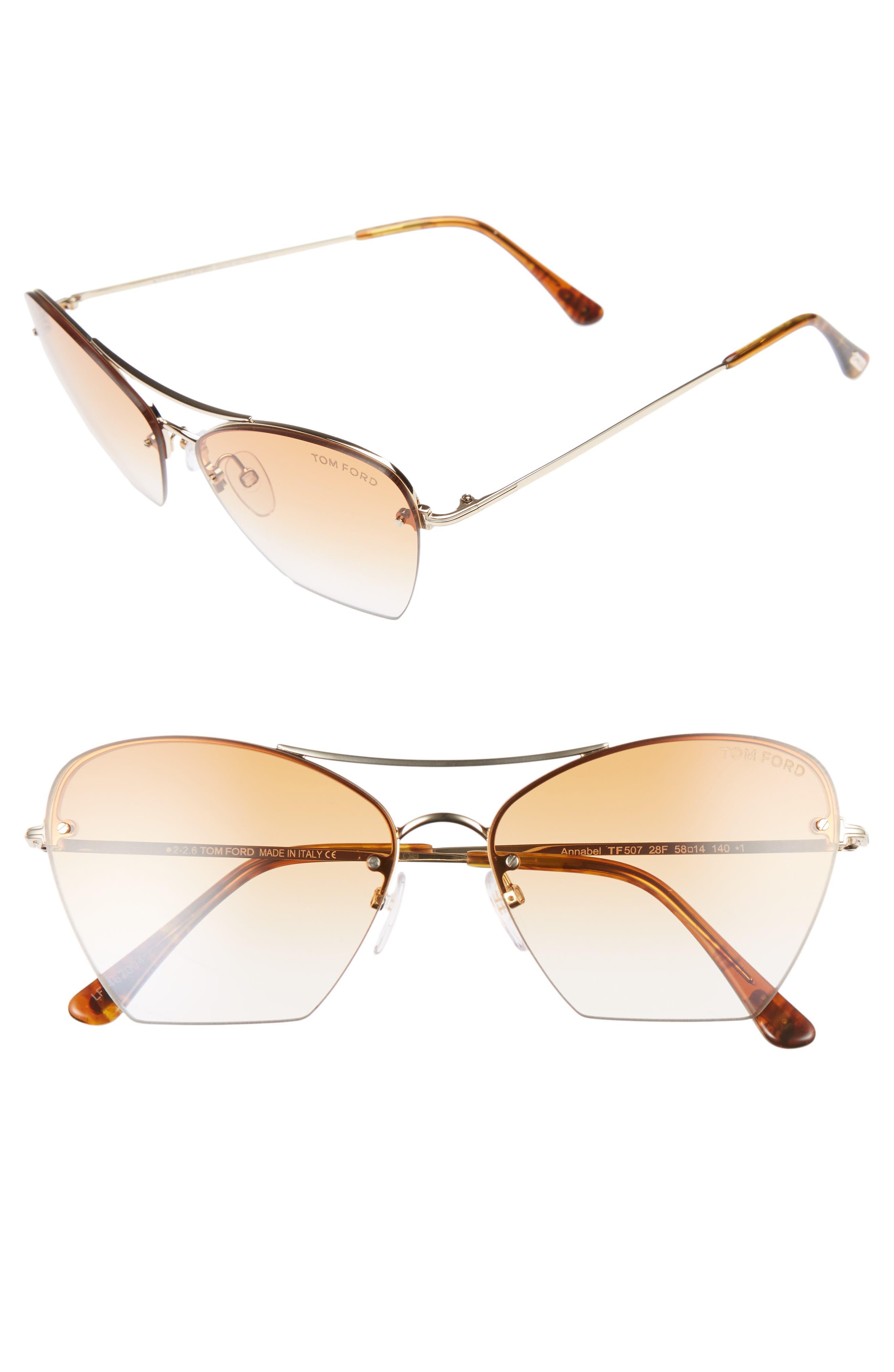 Annabel 58mm Cat Eye Sunglasses,                         Main,                         color, Rose Gold/ Yellow/ Yellow
