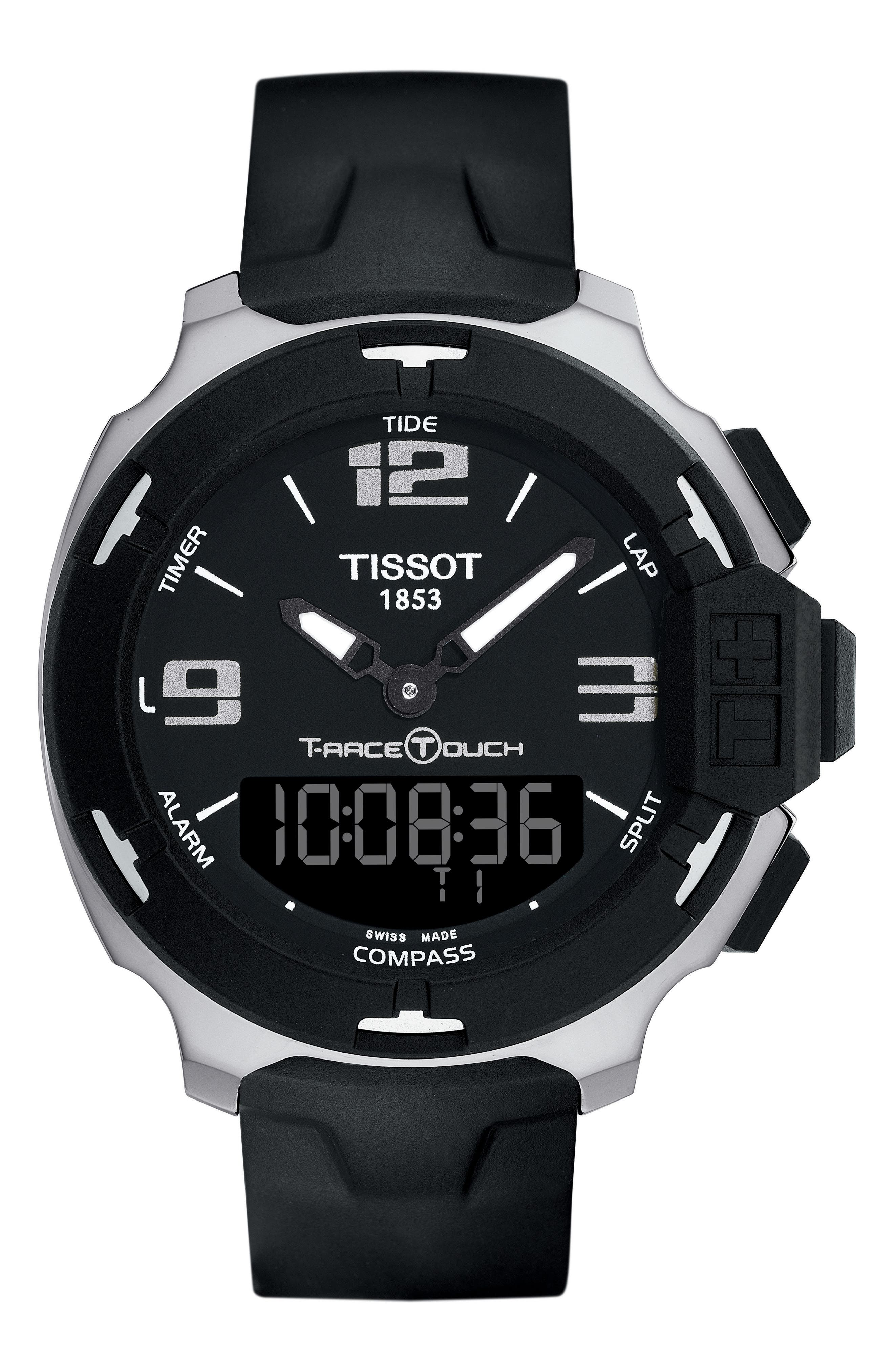T-Race Touch Multifunction Rubber Strap Watch, 42mm,                         Main,                         color, Black/ Silver