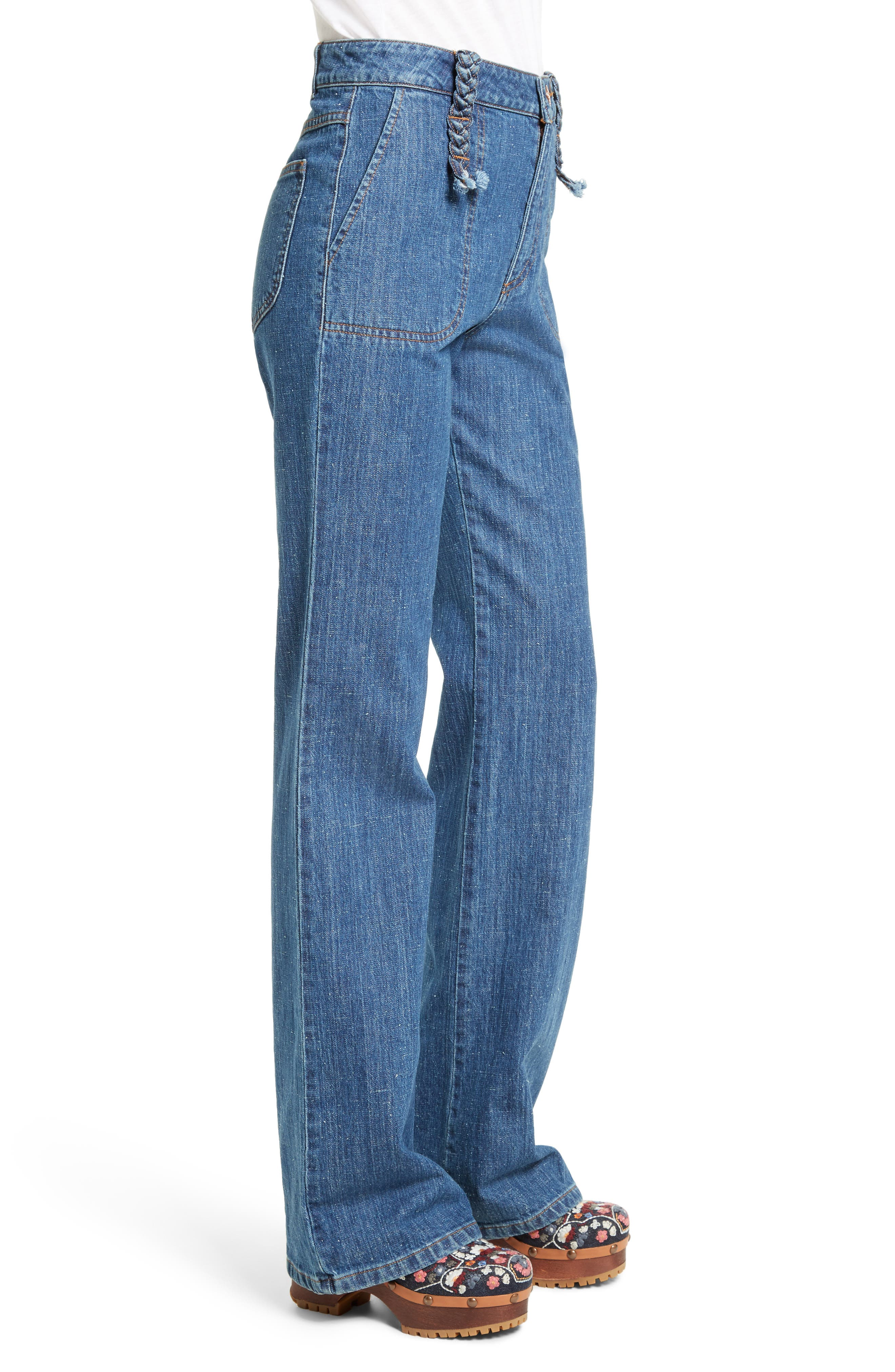 Alternate Image 4  - See by Chloé Wide Leg Denim Trousers