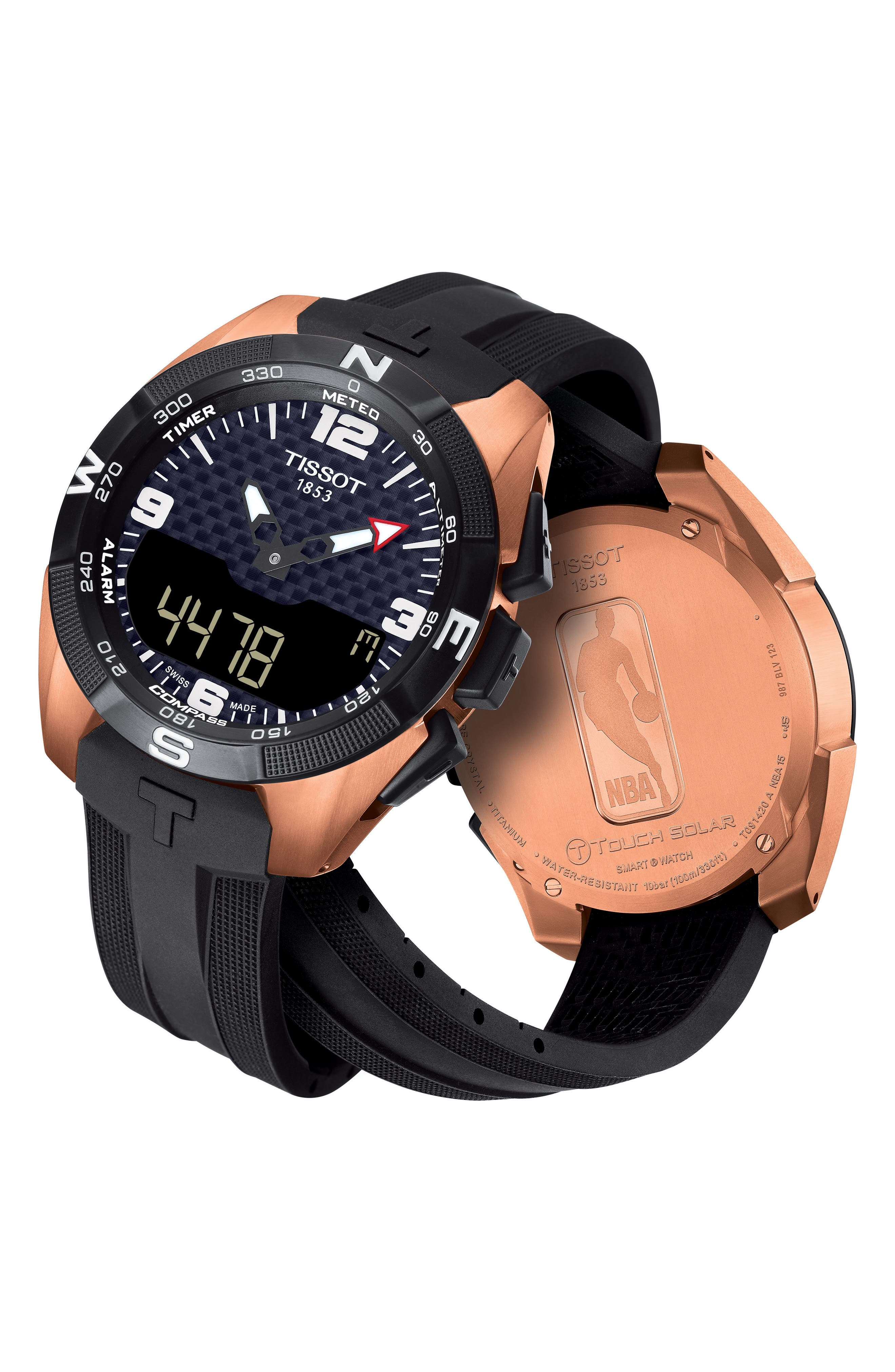 T-Touch Expert Solar Multifunction Smartwatch, 45mm,                             Alternate thumbnail 2, color,                             Black/ Rose Gold