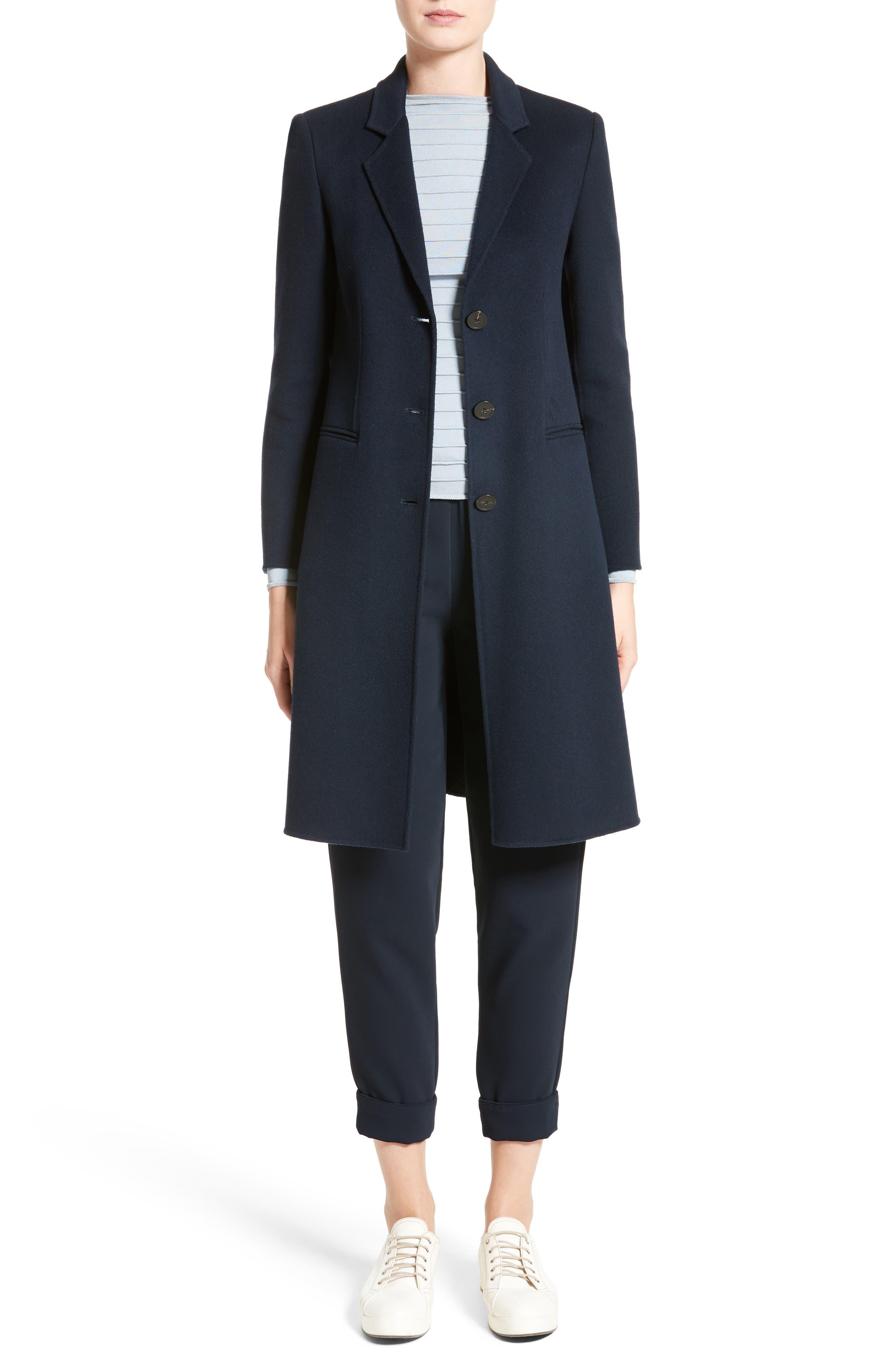 Double Face Cashmere Coat,                         Main,                         color, Navy