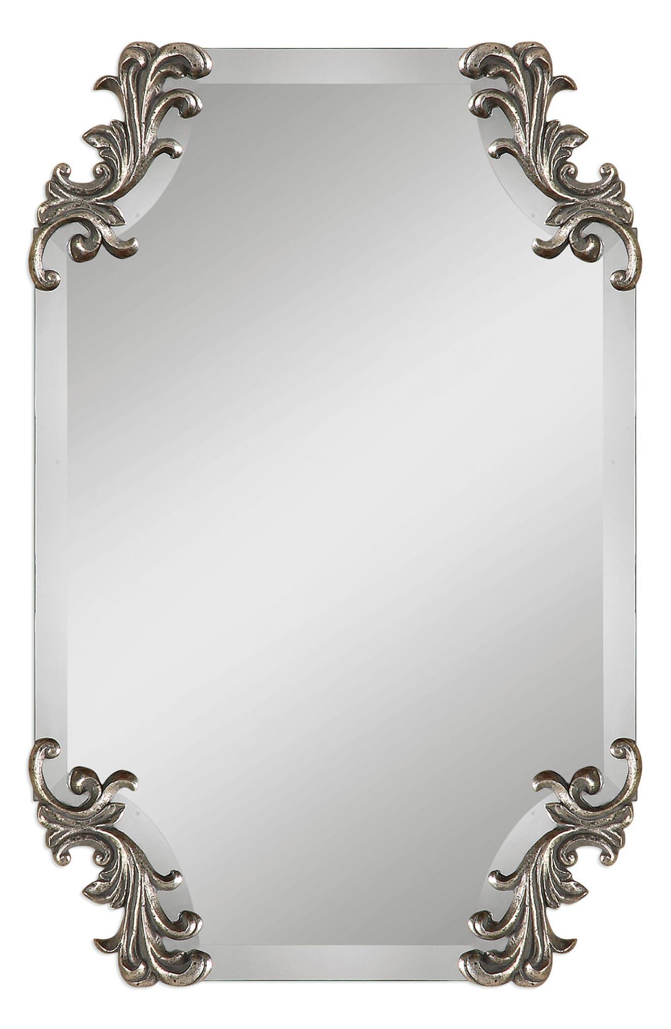Andretta Baroque Wall Mirror,                         Main,                         color, Metallic Silver
