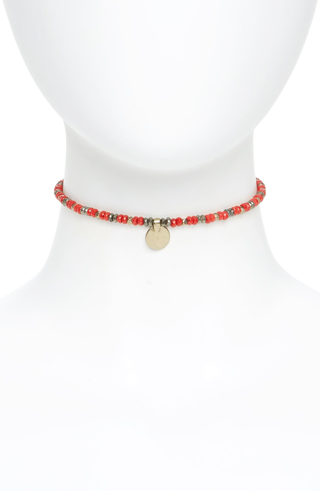 Wire Choker,                             Main thumbnail 1, color,                             Coral- Gold