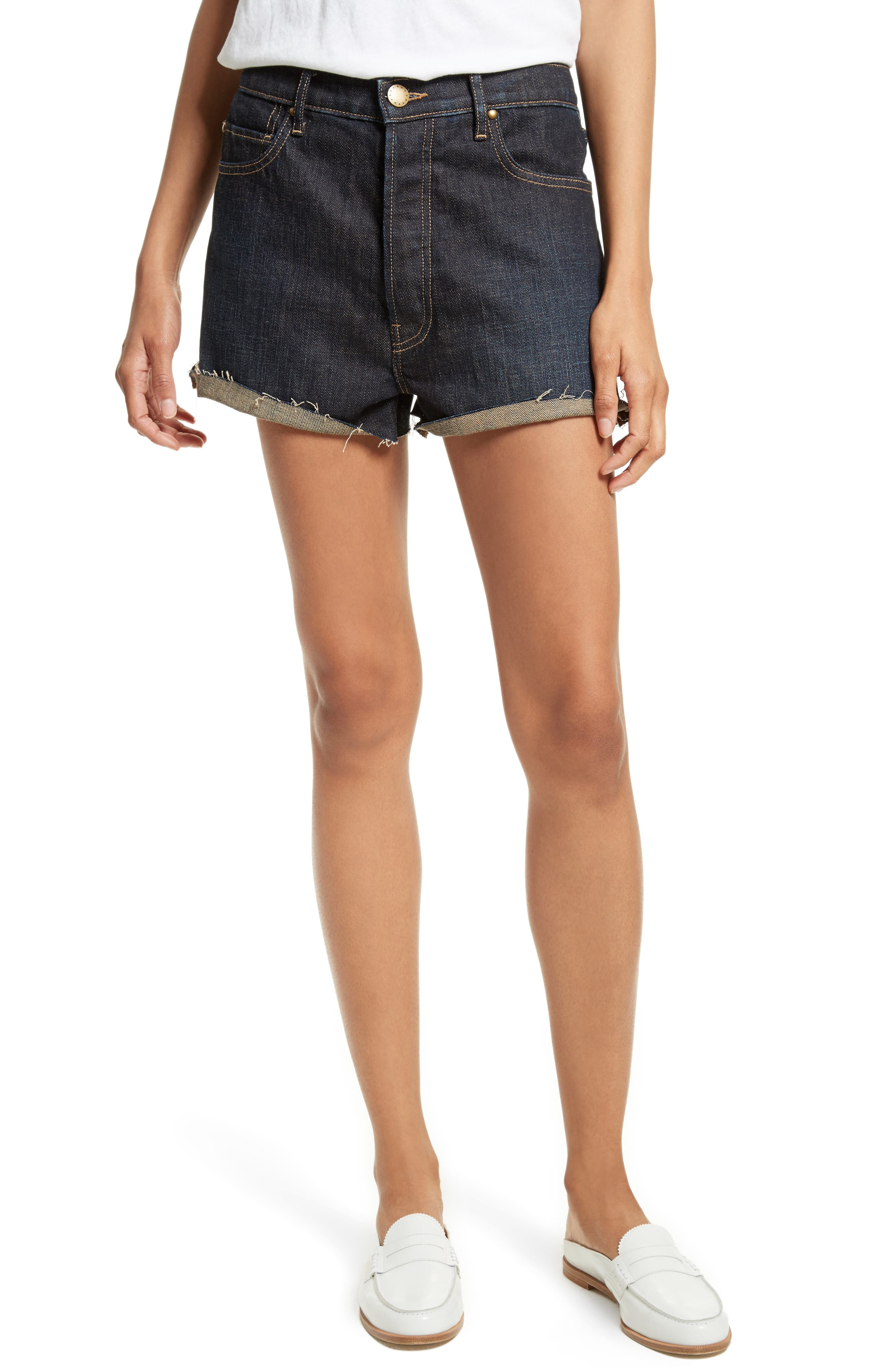 THE GREAT. The Cut Off Denim Shorts