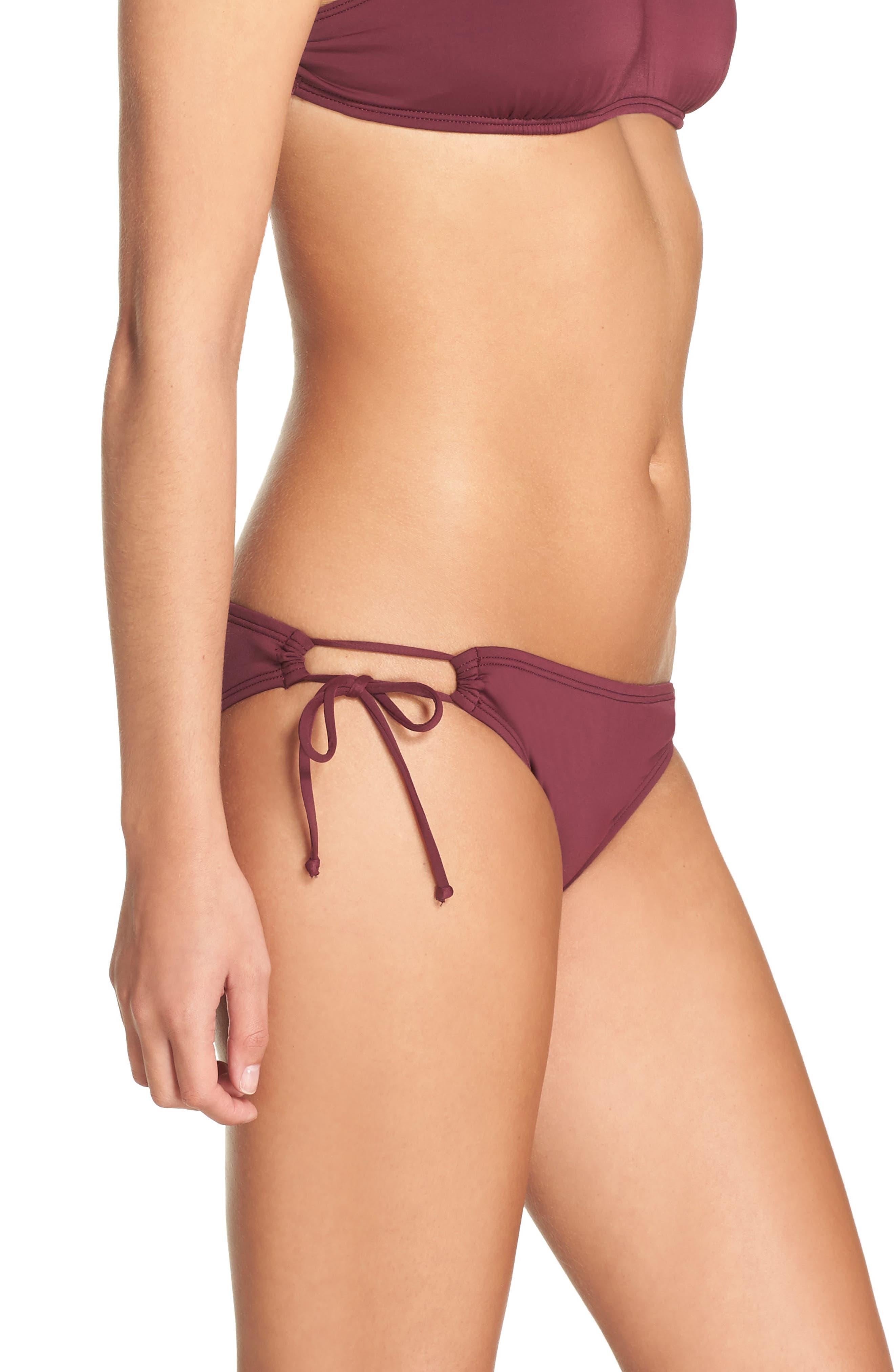Side Tie Bikini Bottoms,                             Alternate thumbnail 3, color,                             Burgundy