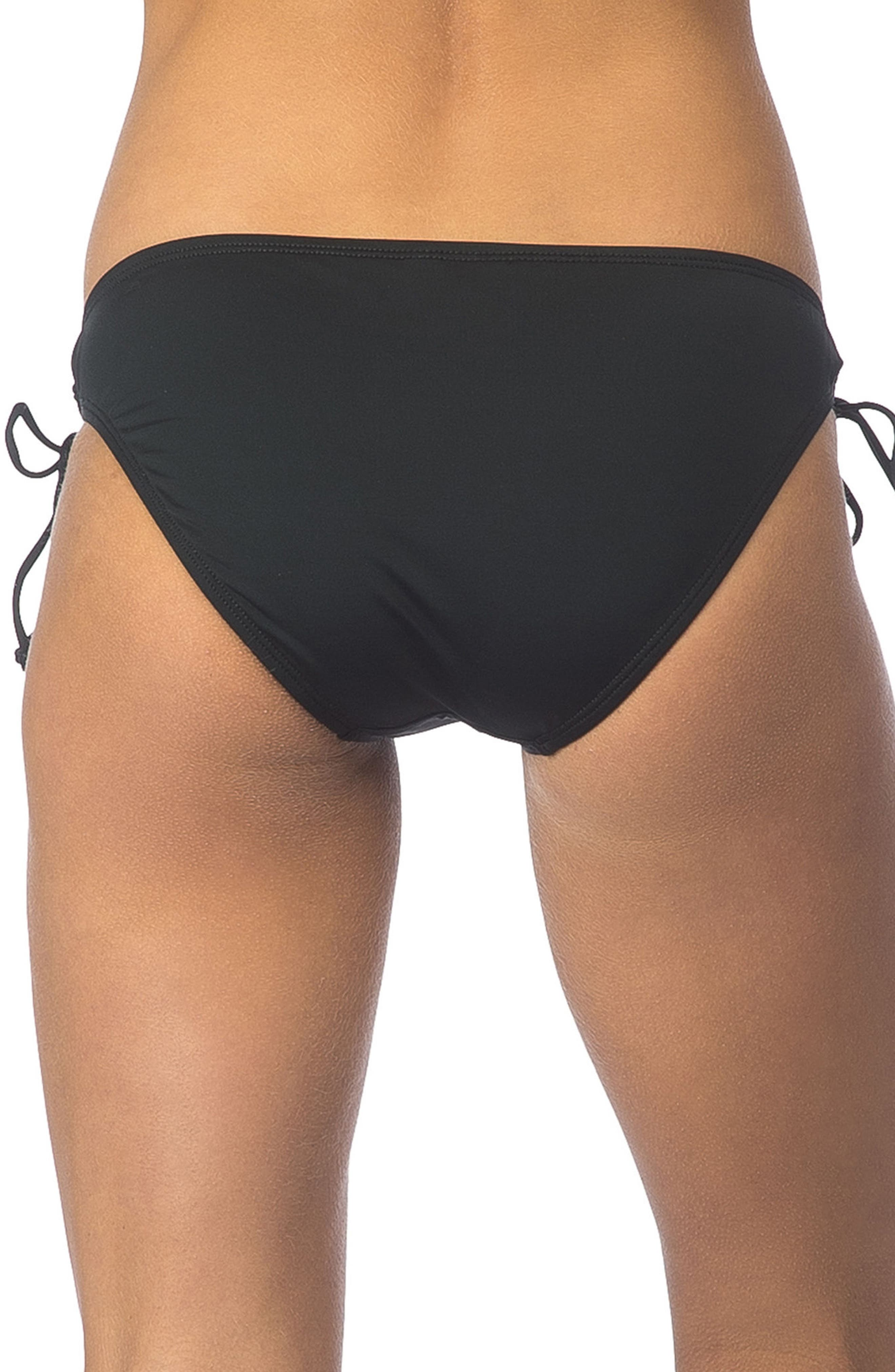 Side Tie Bikini Bottoms,                             Alternate thumbnail 2, color,                             Black