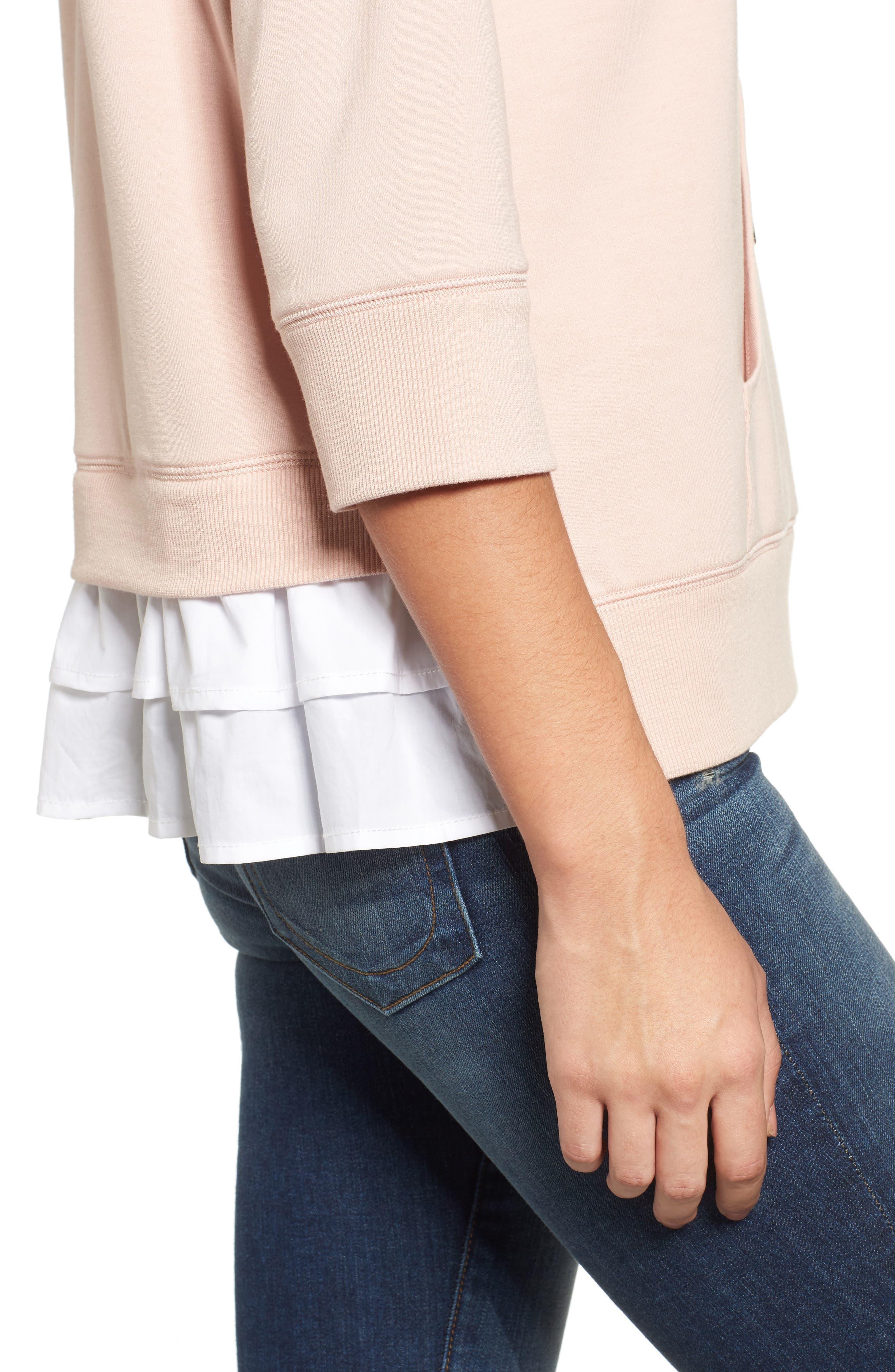 Alternate Image 5  - Caslon® Woven Inset Knit Hoodie (Regular & Petite)