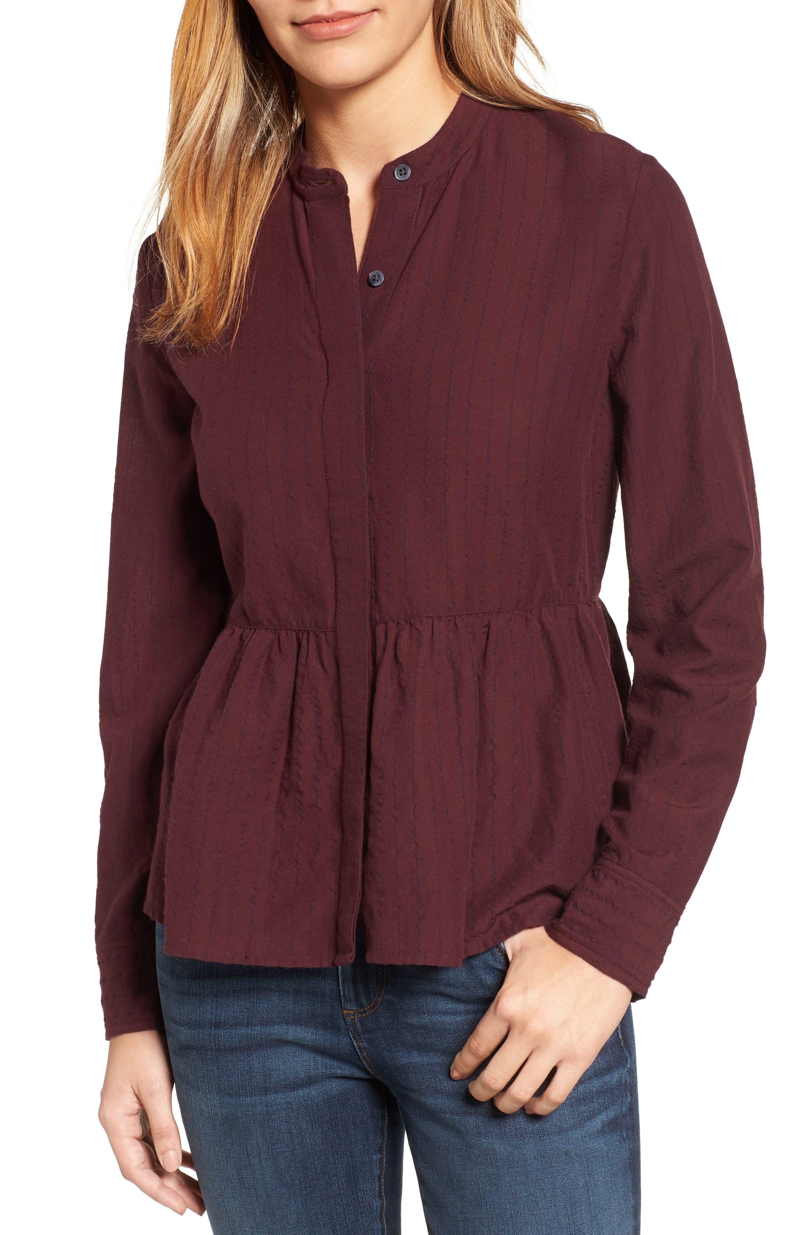 Caslon® Peplum Shirt (Regular & Petite)