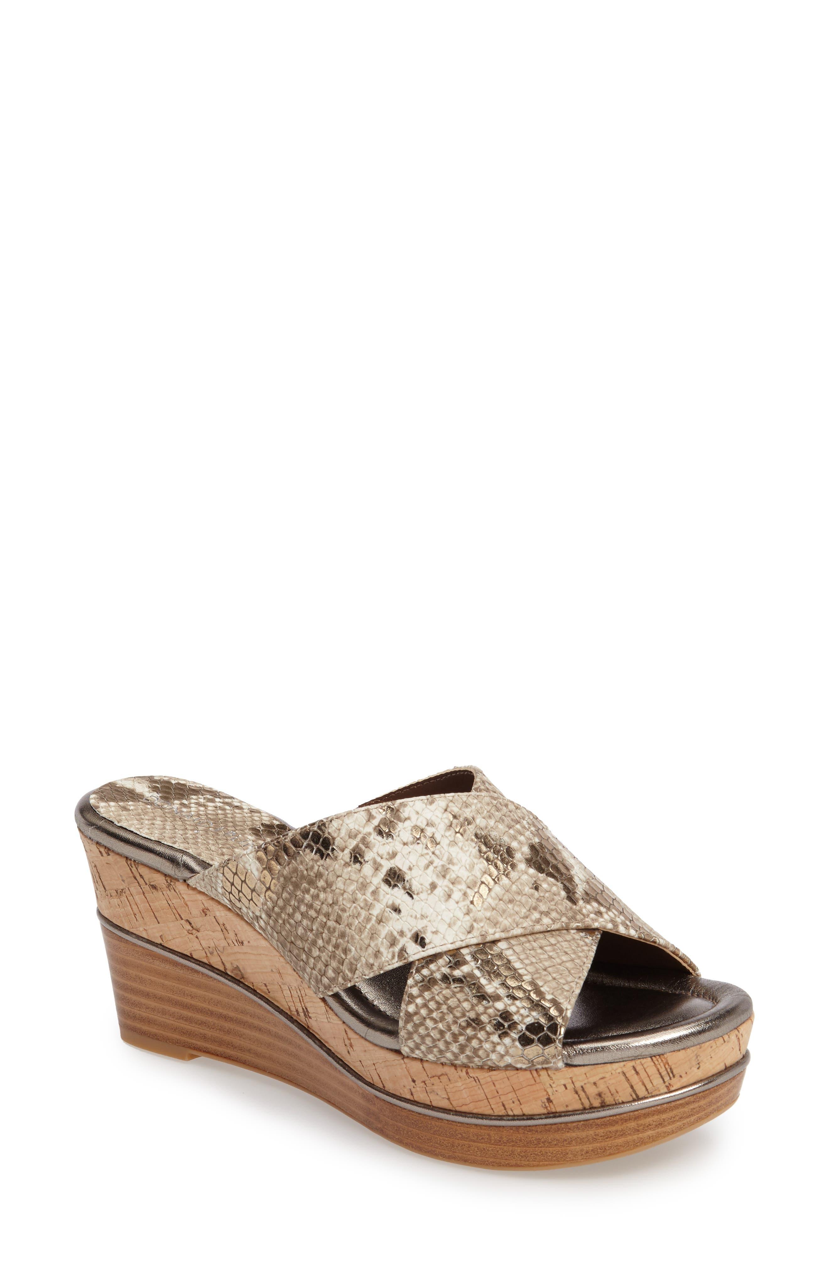 Donald J Pliner 'Dani' Crisscross Wedge Sandal,                             Main thumbnail 1, color,                             Light Bronze Print Leather