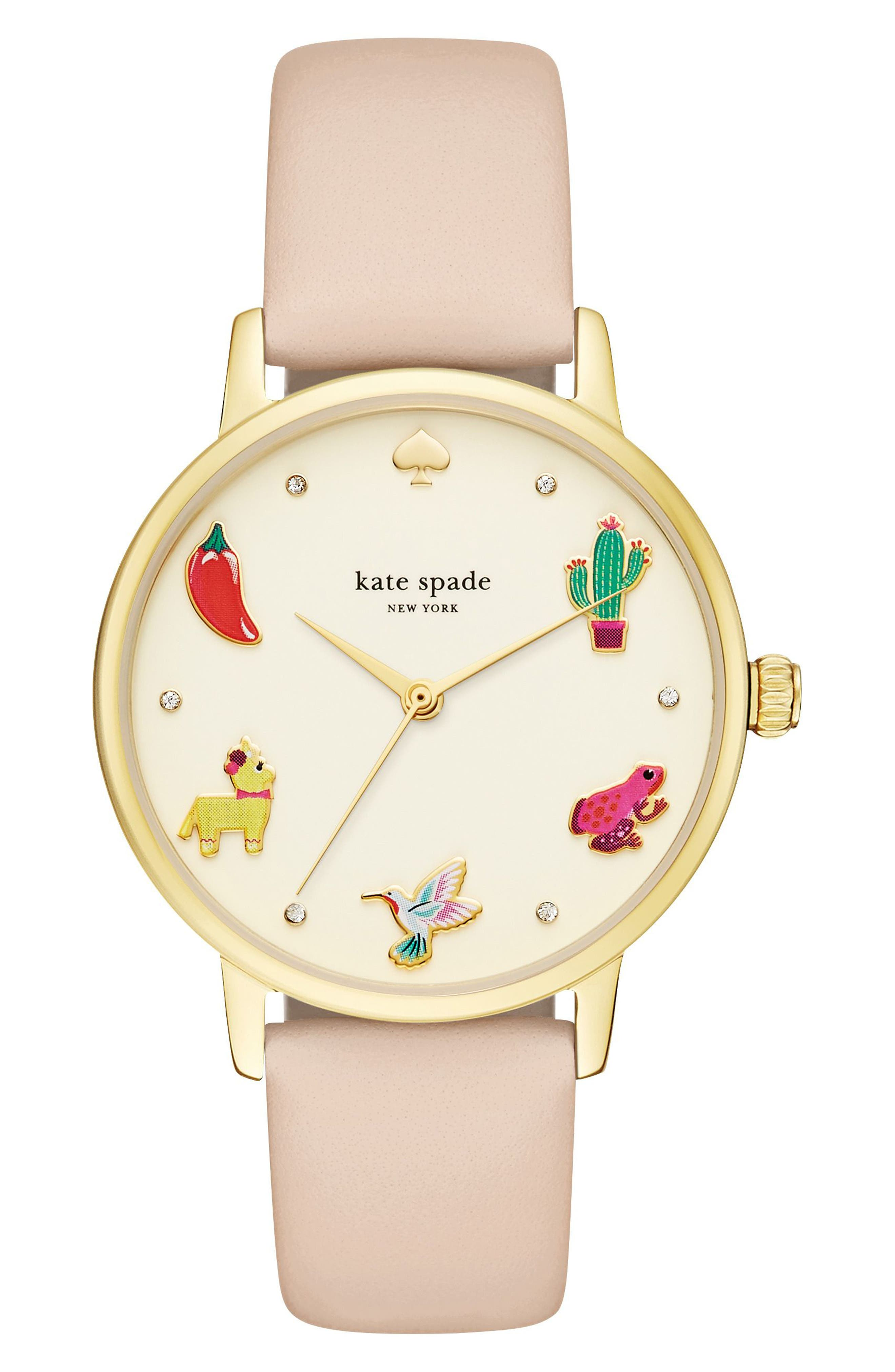metro novelty leather strap watch, 34mm,                         Main,                         color, Beige/ Gold