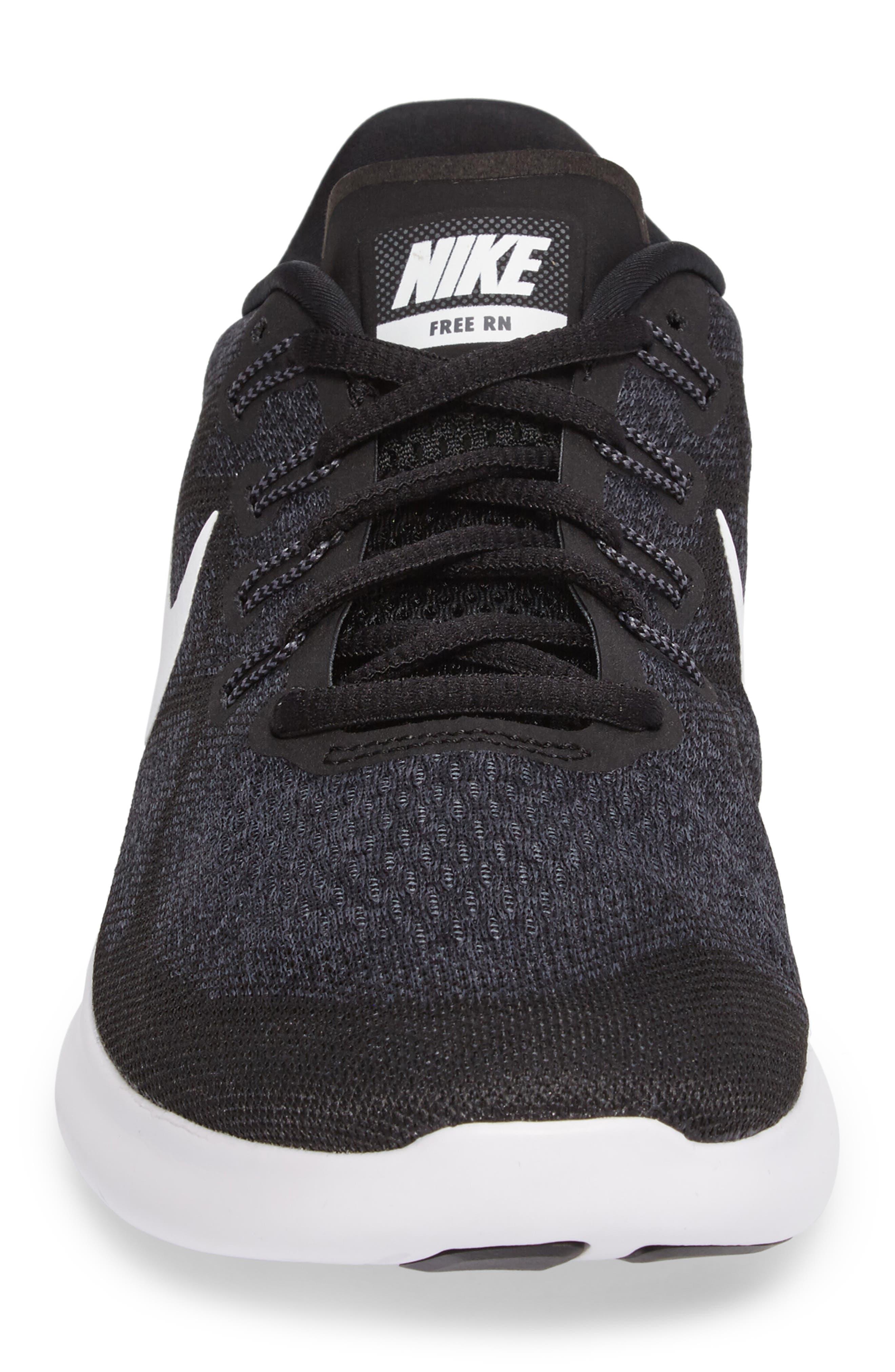 Free Run 2017 Running Shoe,                             Alternate thumbnail 4, color,                             Black/ White/ Grey/ Anthracite