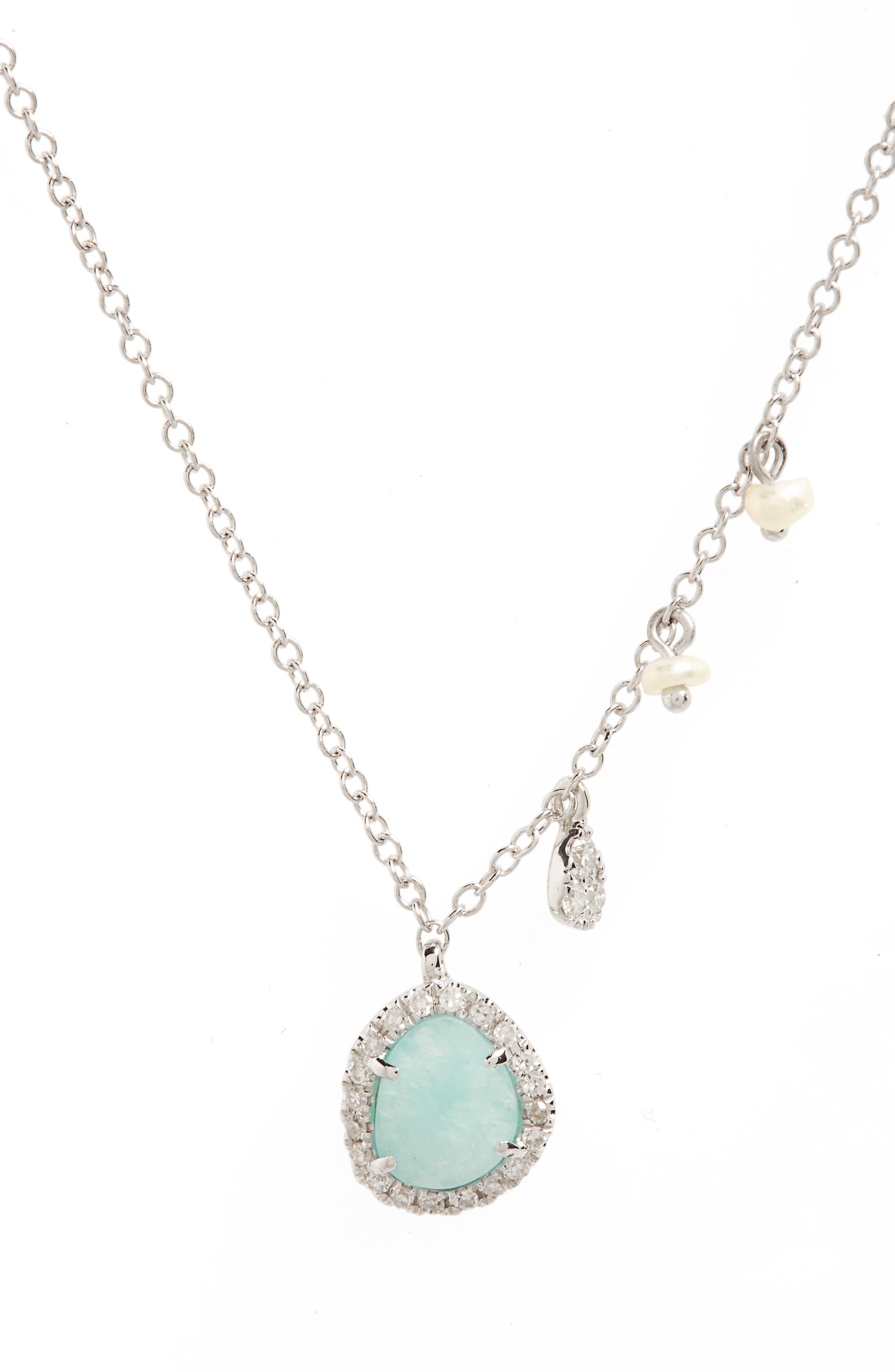 Mini Stone Diamond Pendant Necklace,                         Main,                         color, White Gold/ Amazonite