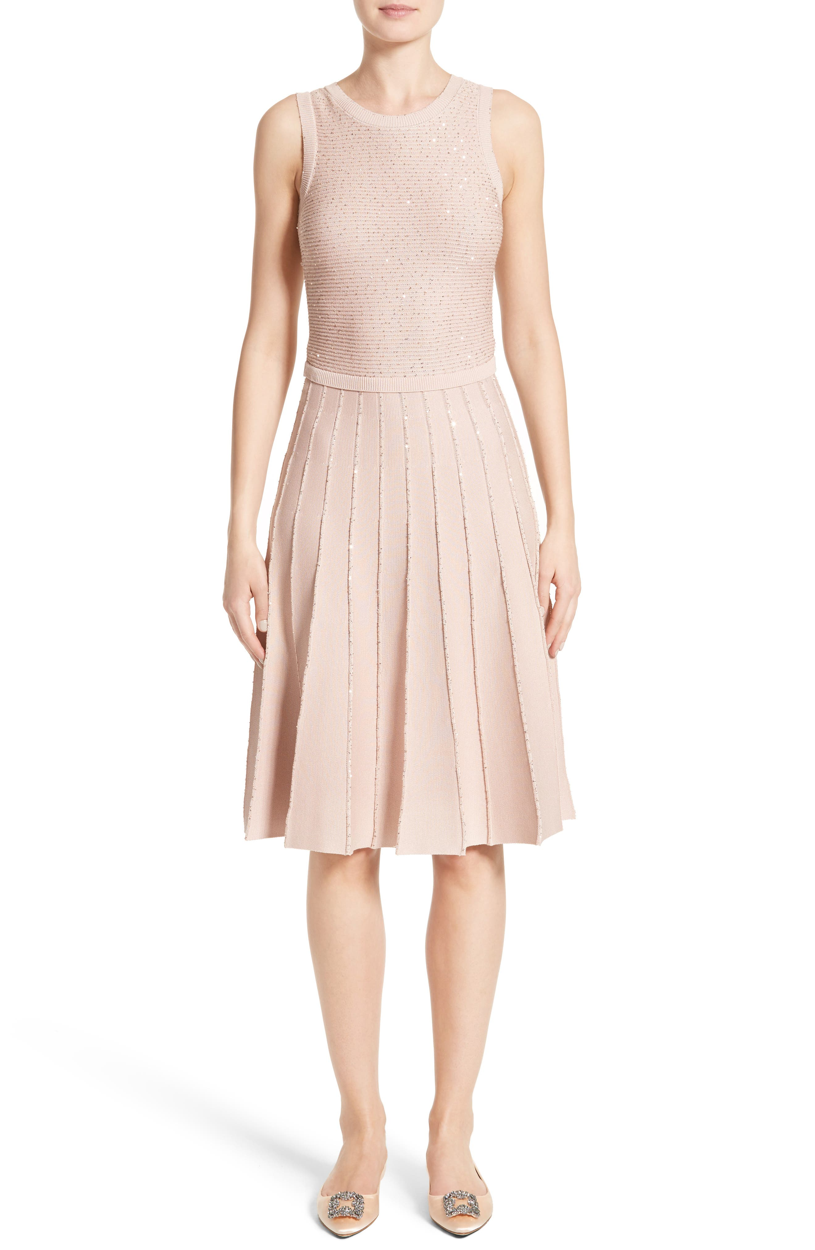 Sparkle Knit Pleated Dress,                             Main thumbnail 1, color,                             Rose Gold