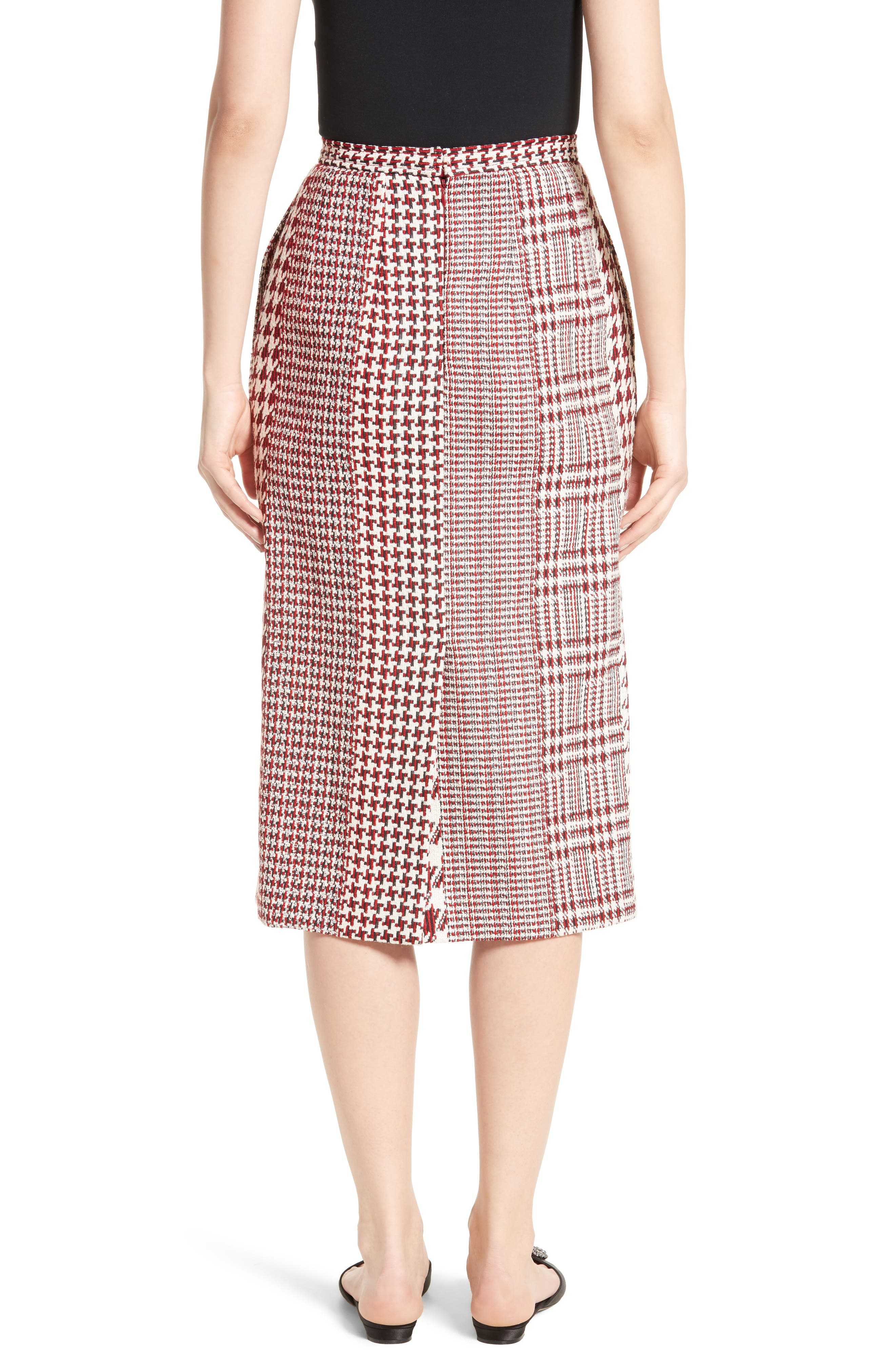 Houndstooth Pencil Skirt,                             Alternate thumbnail 3, color,                             Red Multi