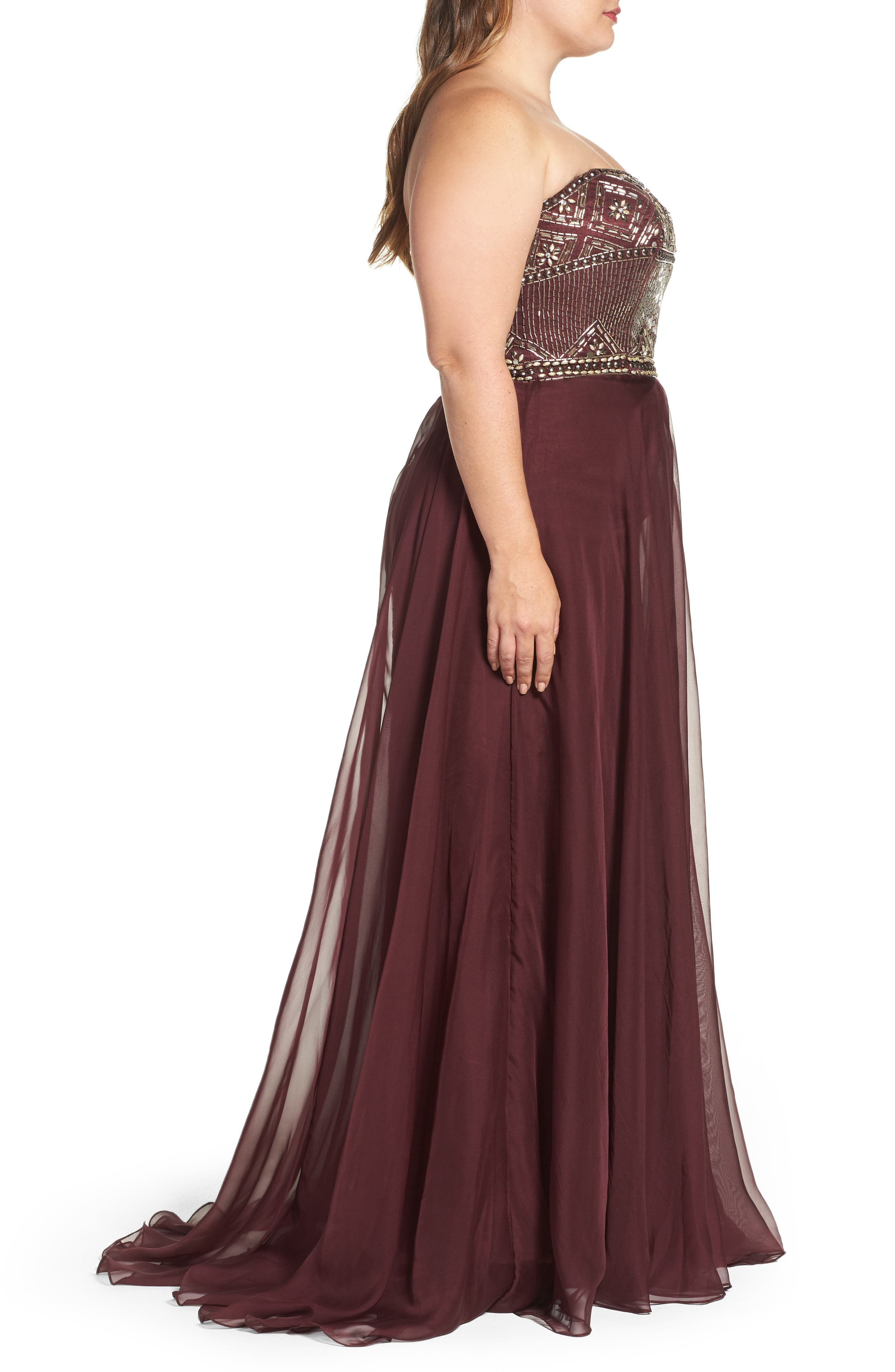 Beaded Bodice Strapless Chiffon Gown,                             Alternate thumbnail 3, color,                             Burgundy