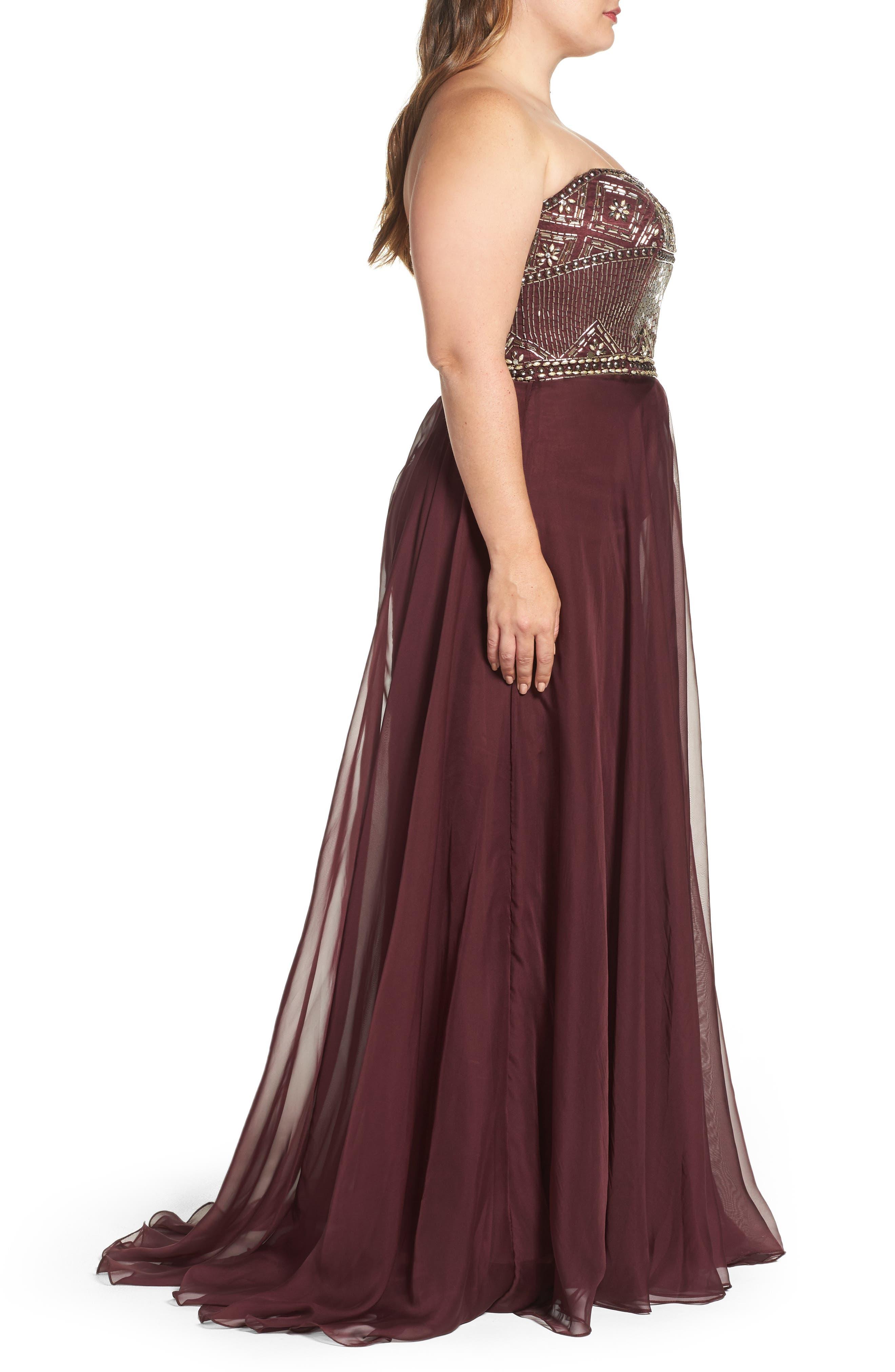Alternate Image 3  - Mac Duggal Beaded Bodice Strapless Chiffon Gown (Plus Size)