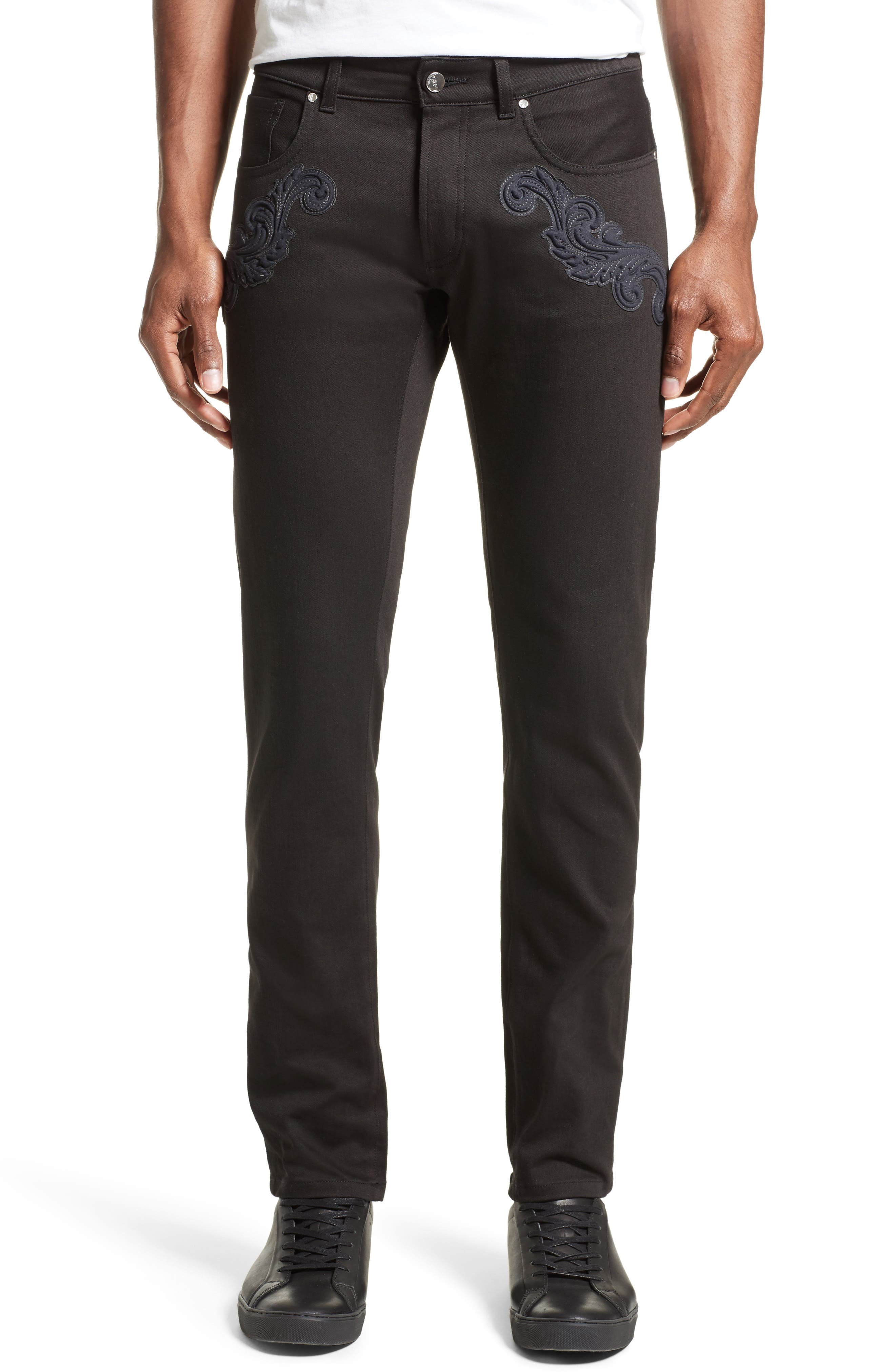Versace Collection Baroque Patches Jeans (Black)