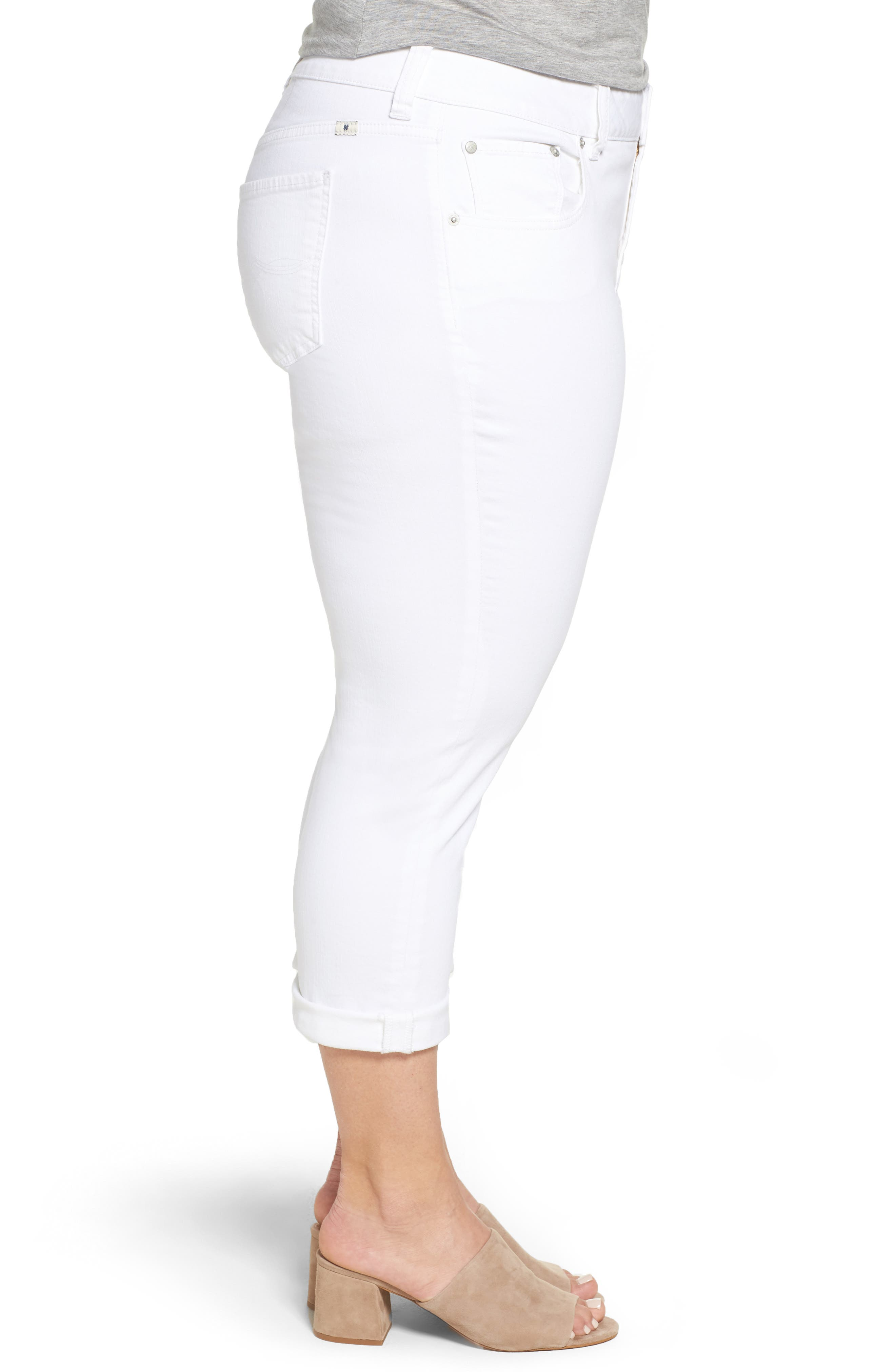 Emma Stretch Crop Jeans,                             Alternate thumbnail 3, color,                             Clean White