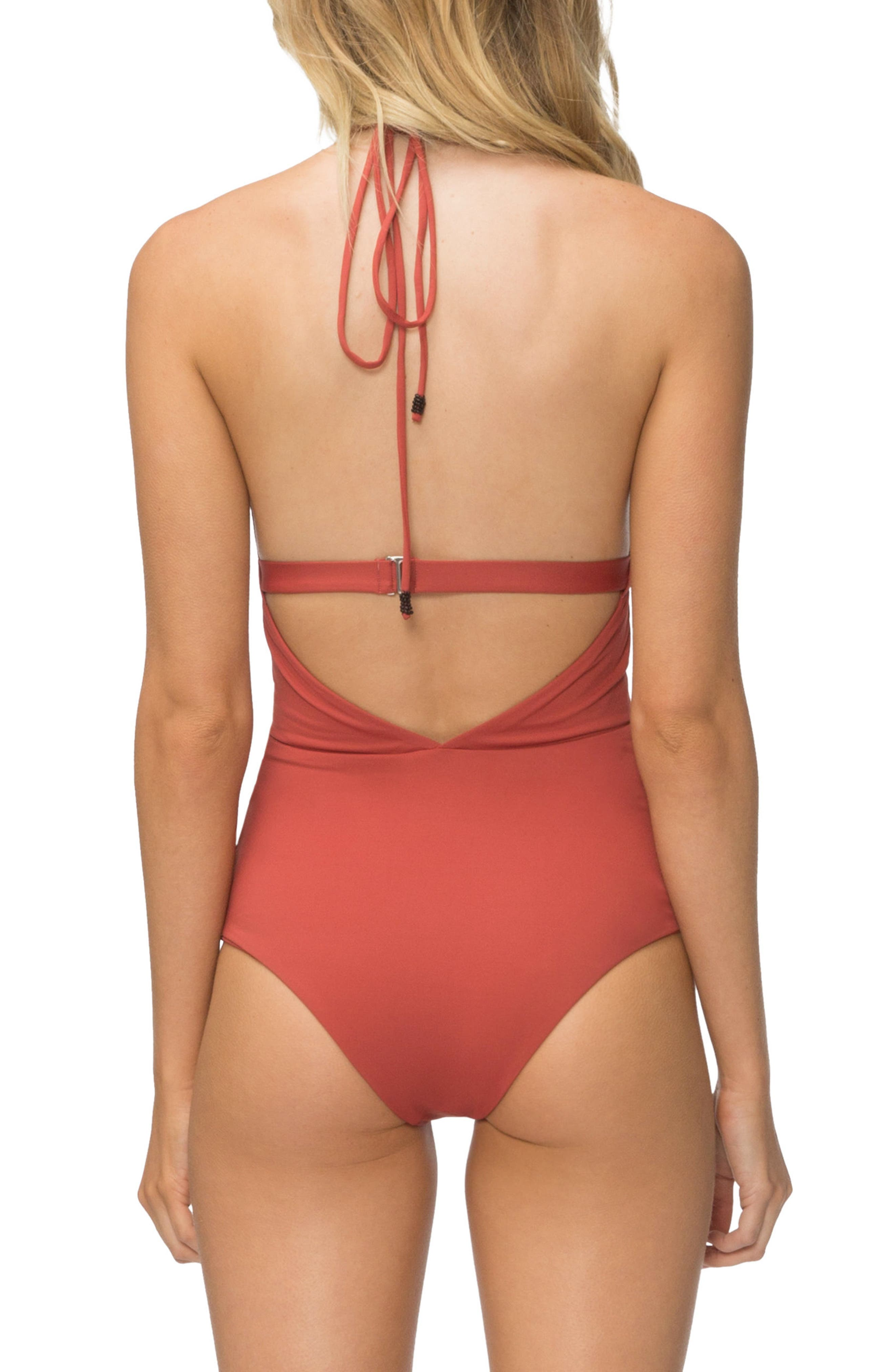 Emme Halter One-Piece Swimsuit,                             Alternate thumbnail 2, color,                             Rust