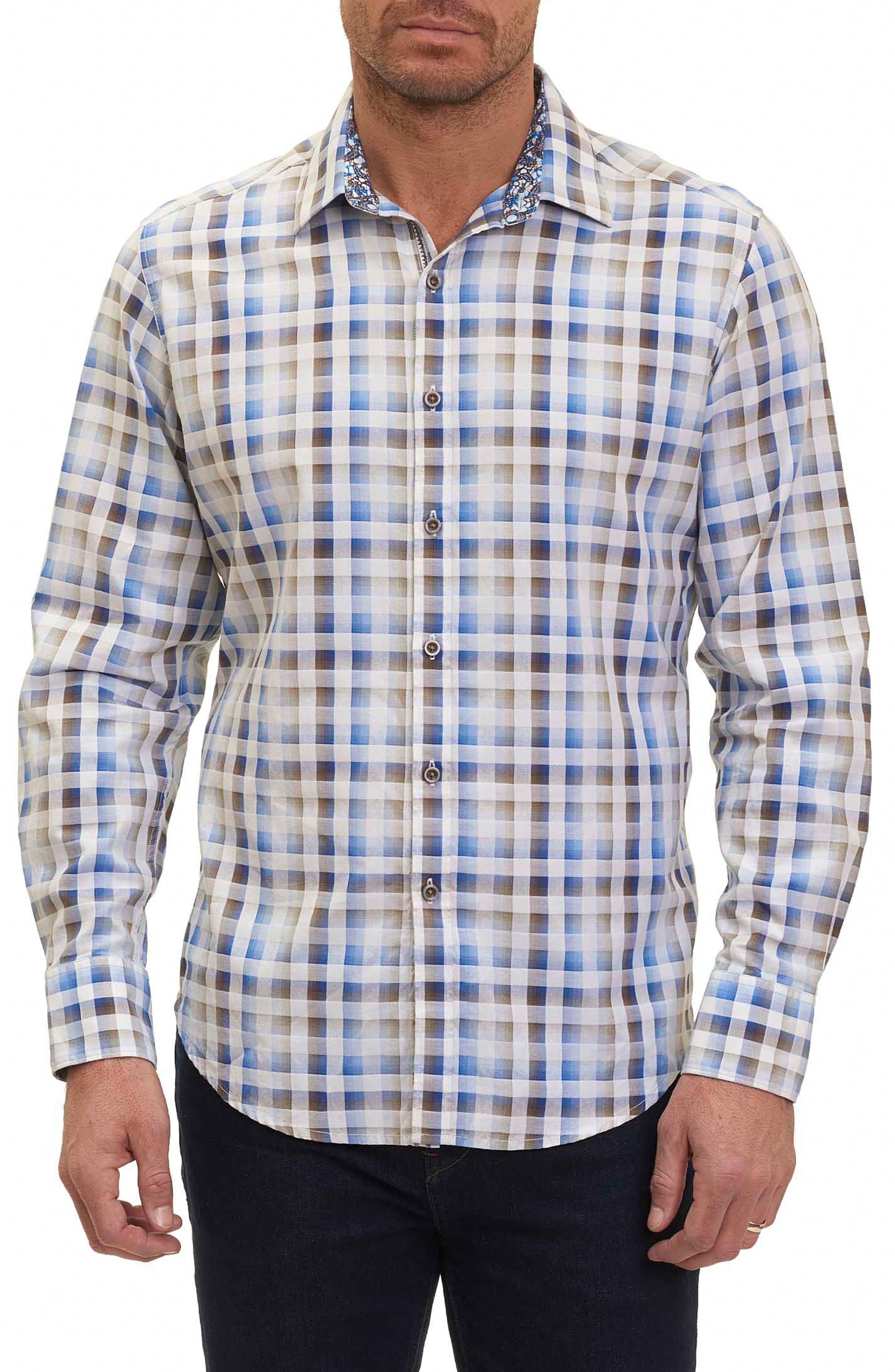 Dewan Classic Fit Check Sport Shirt,                         Main,                         color, Blue
