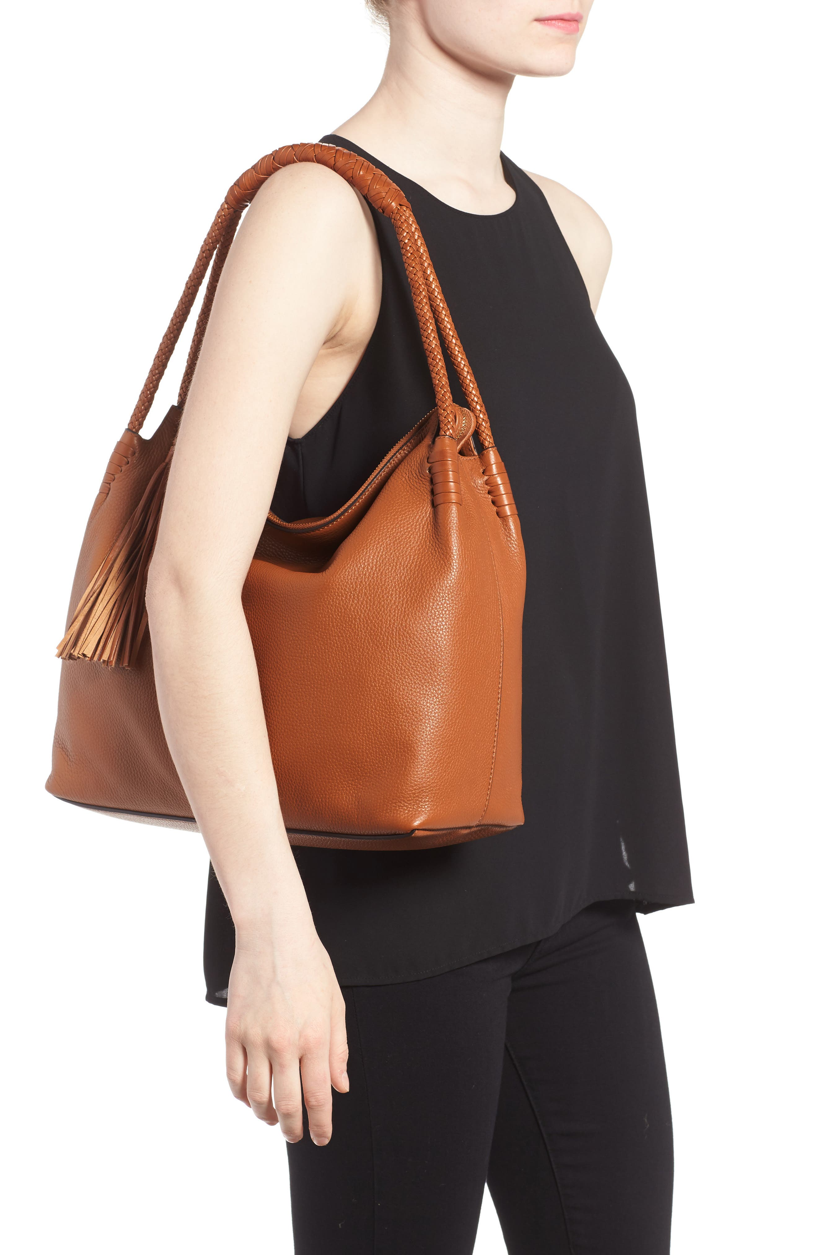 Taylor Leather Hobo Bag,                             Alternate thumbnail 2, color,                             Saddle