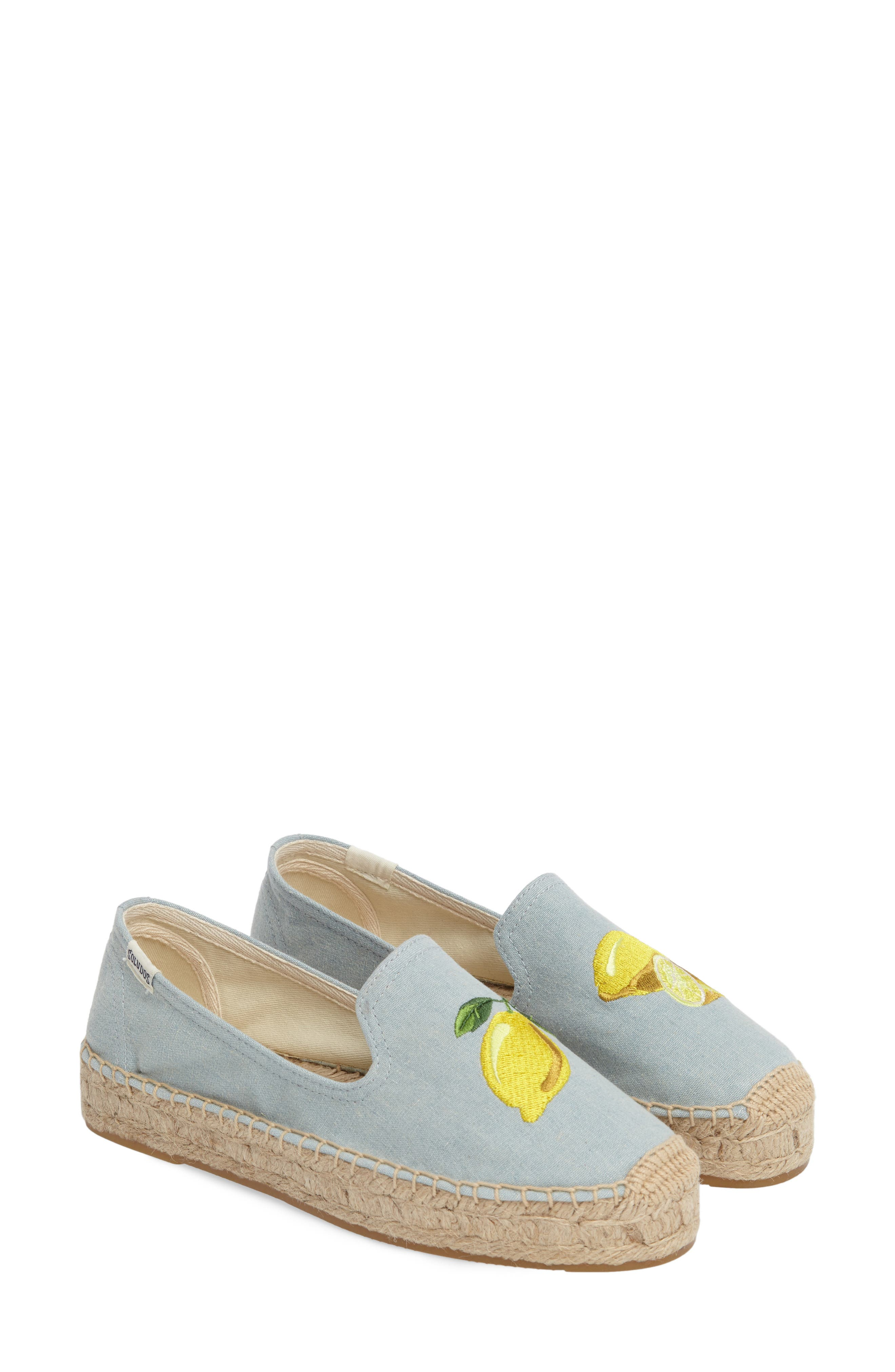 Lemon Espadrille Flat,                             Alternate thumbnail 2, color,                             Chambray