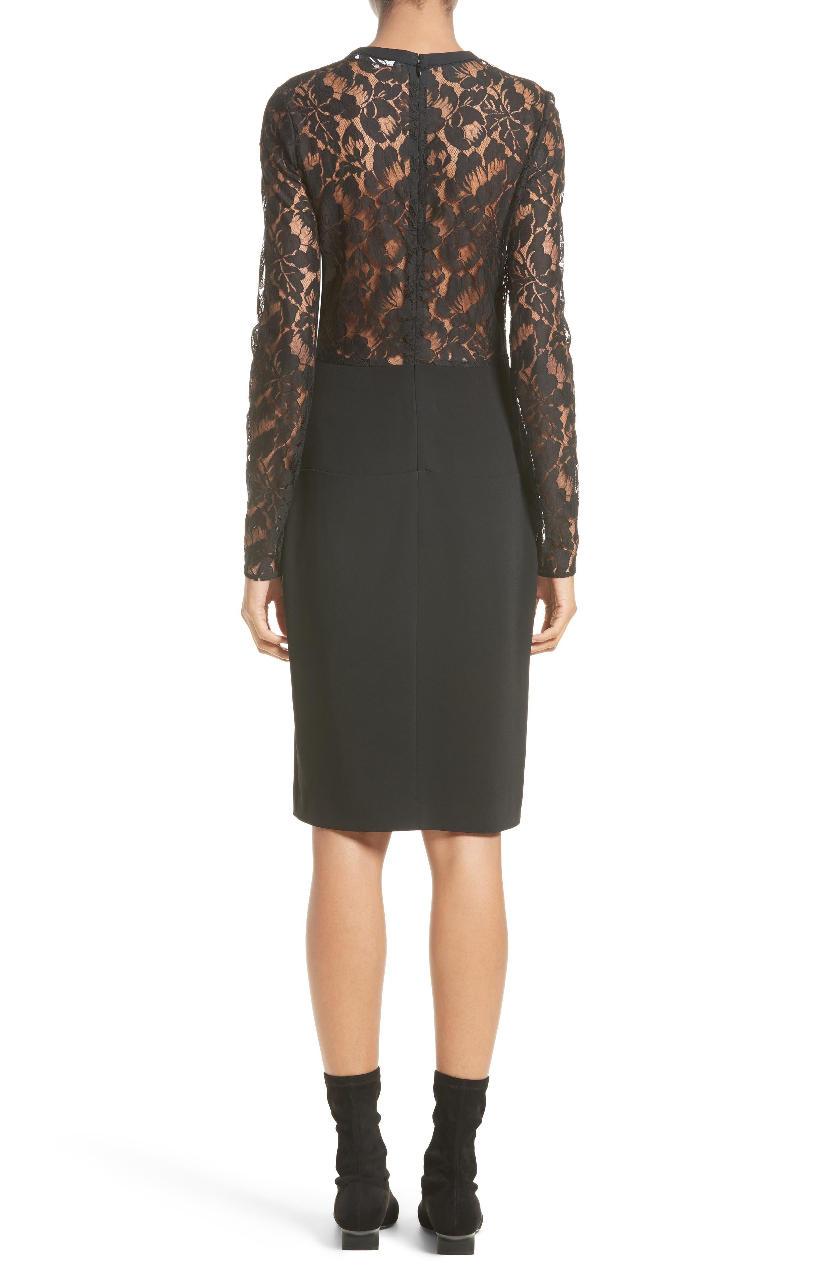 Lace Illusion Sheath Dress,                             Alternate thumbnail 2, color,                             Black