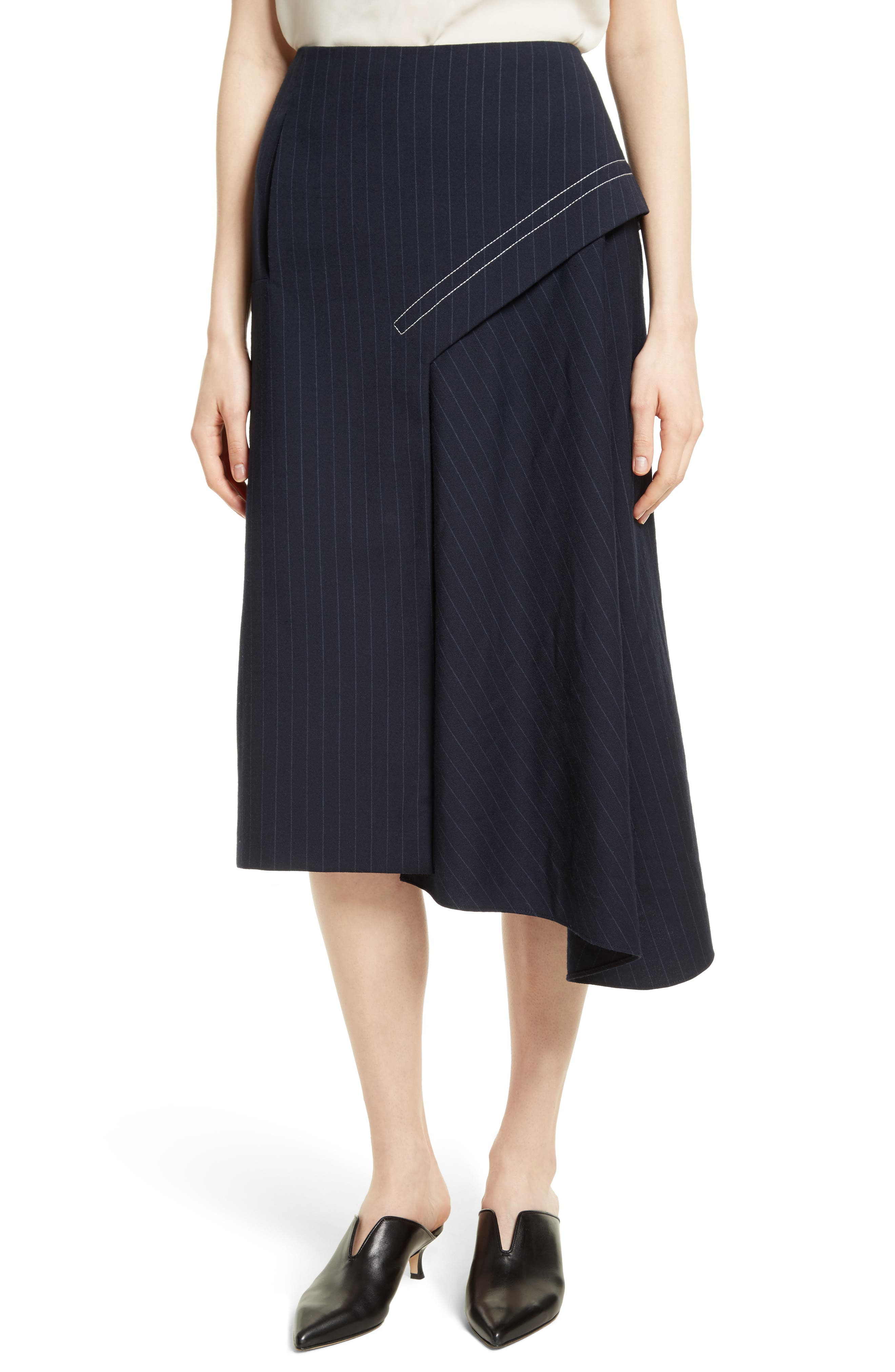 Tibi Delmont Draped Midi Skirt