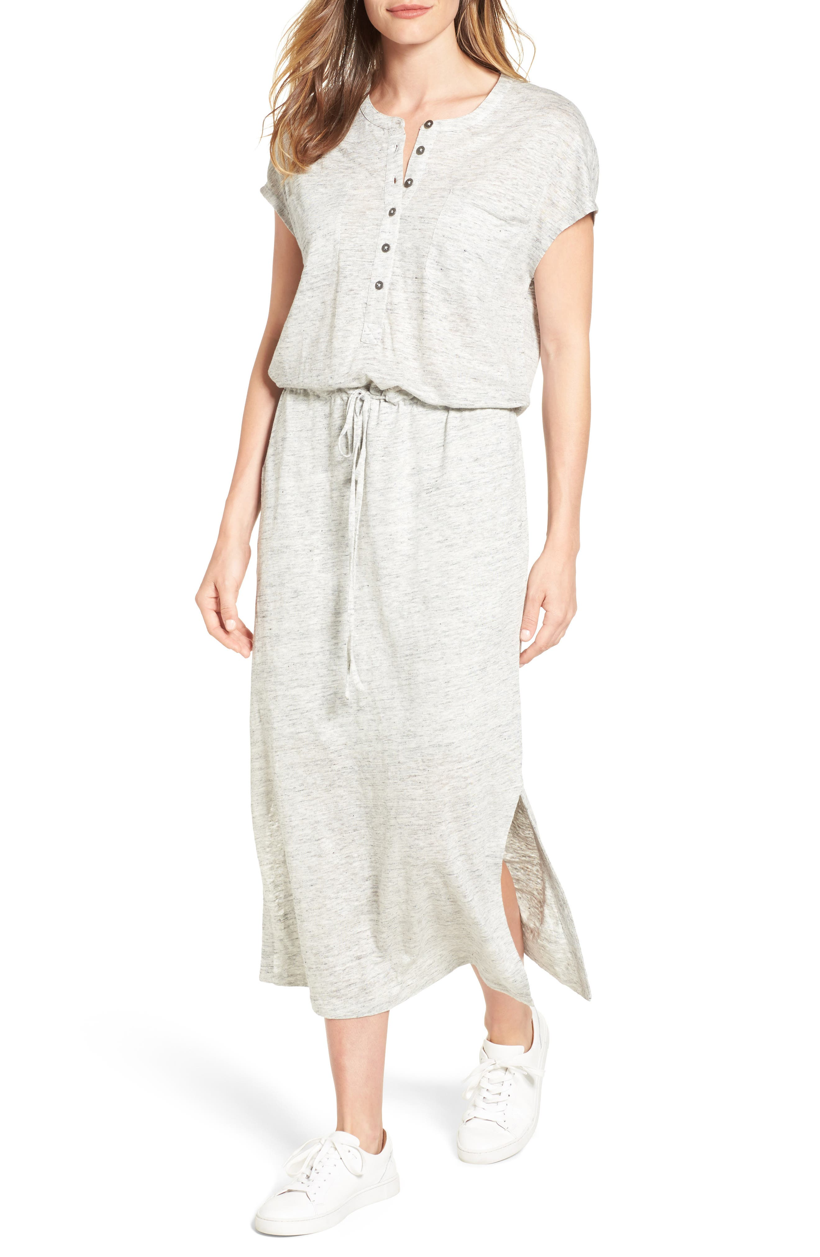 CASLON<SUP>®</SUP> Linen Knit Midi Dress