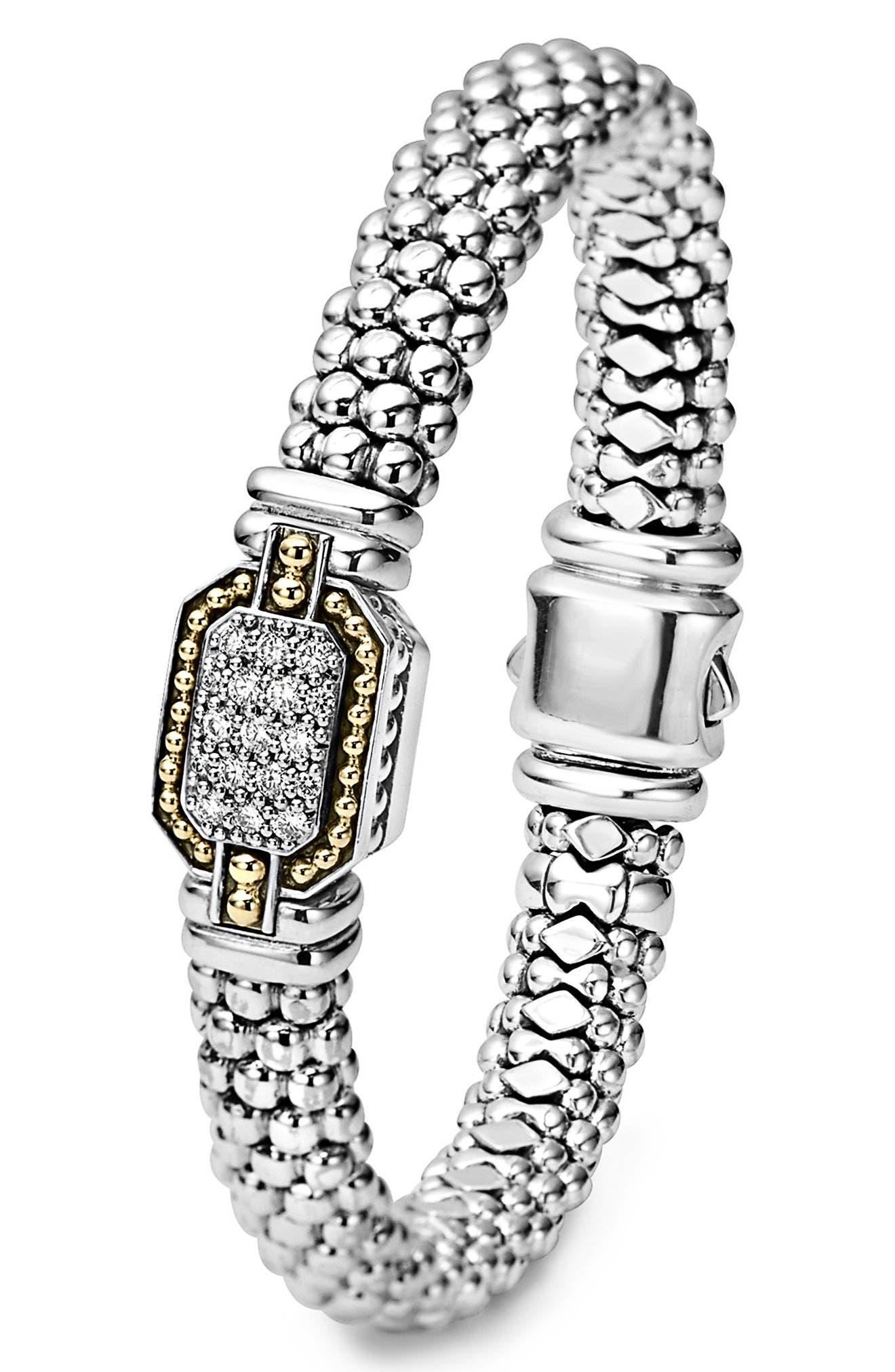 Diamonds & Caviar Large Diamond Bracelet,                             Alternate thumbnail 4, color,                             Silver