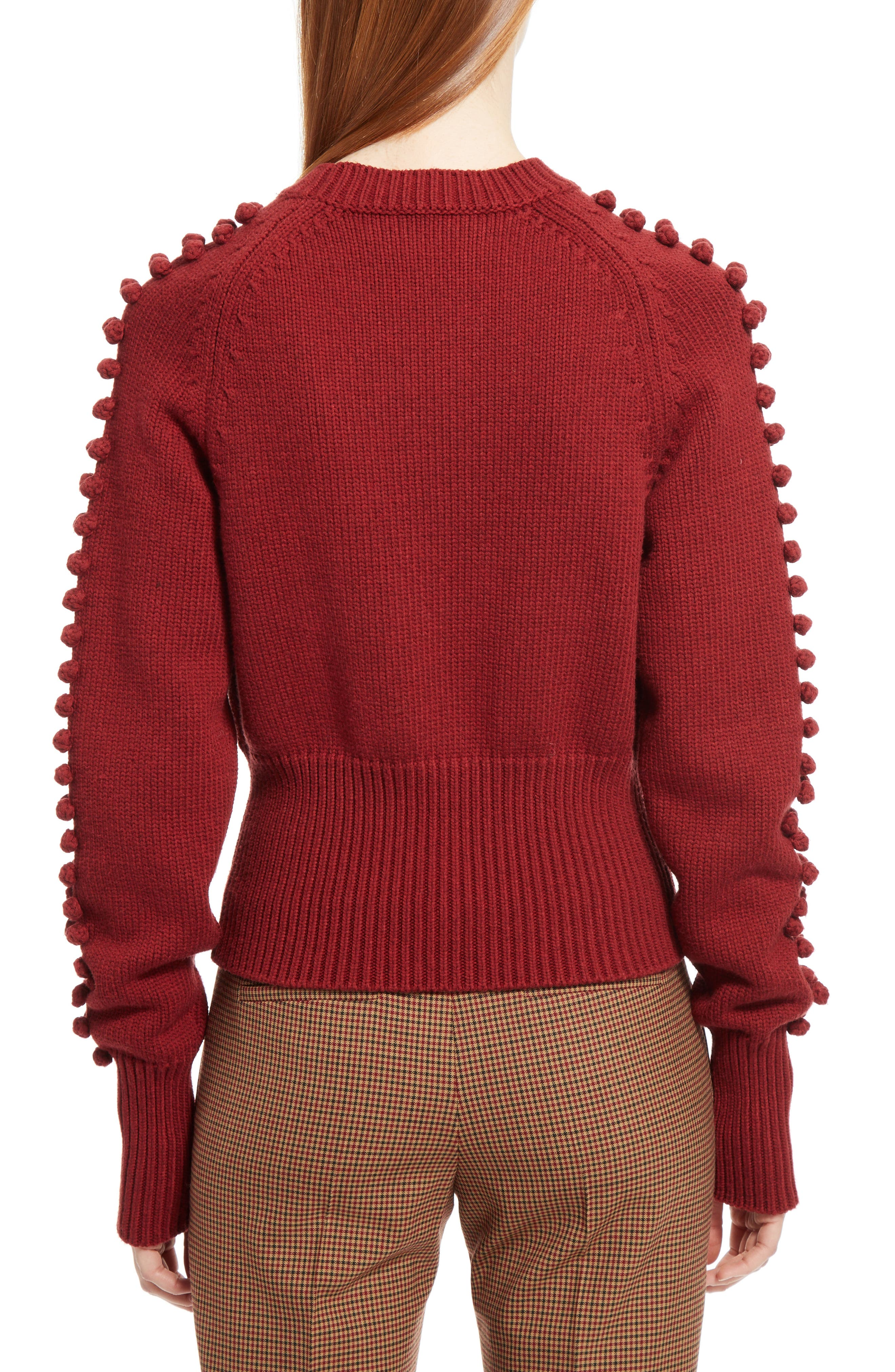 Bobble Knit Sweater,                             Alternate thumbnail 2, color,                             Ginger Red