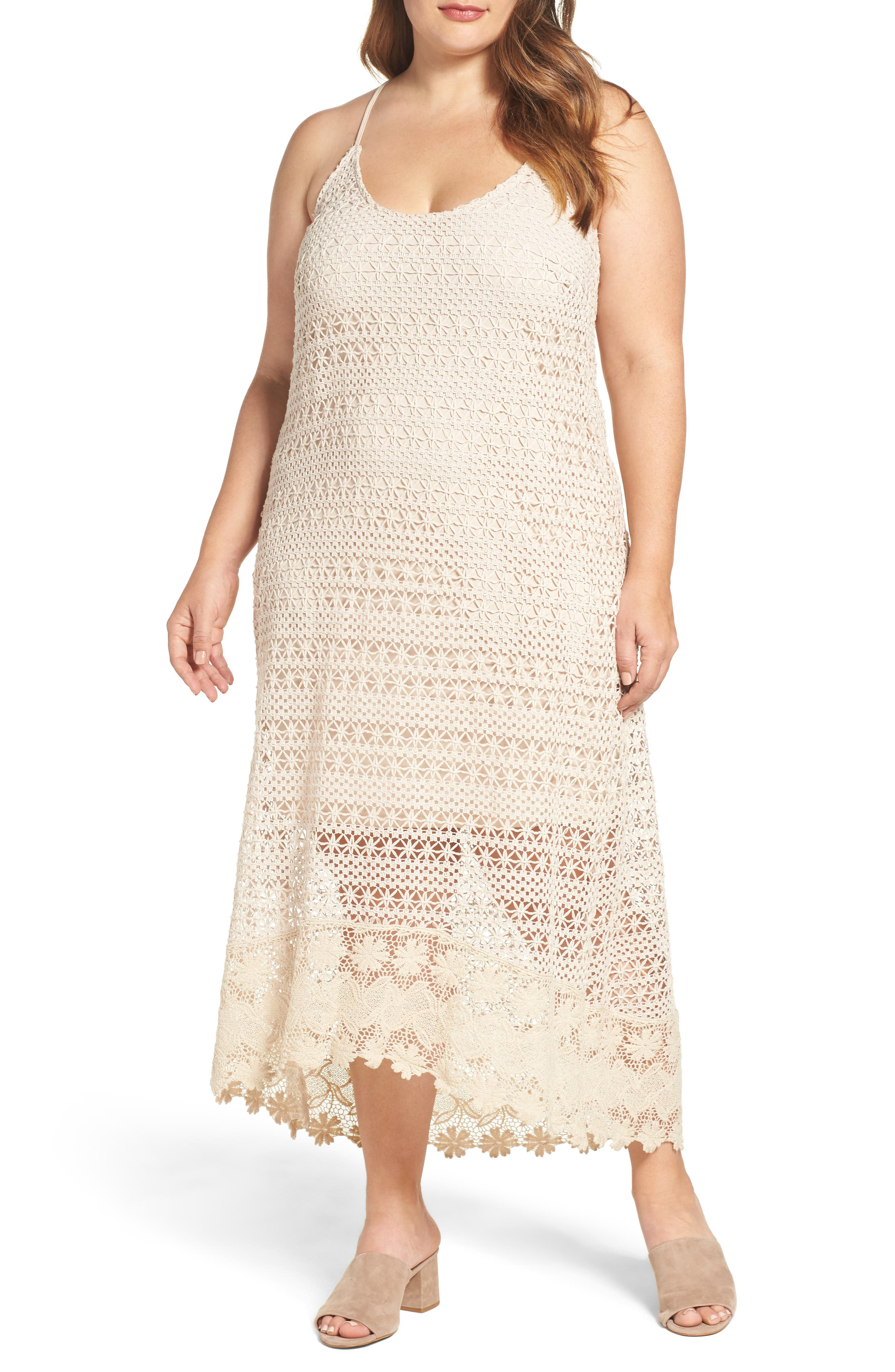 Crochet Maxi Dress,                         Main,                         color, Ecru