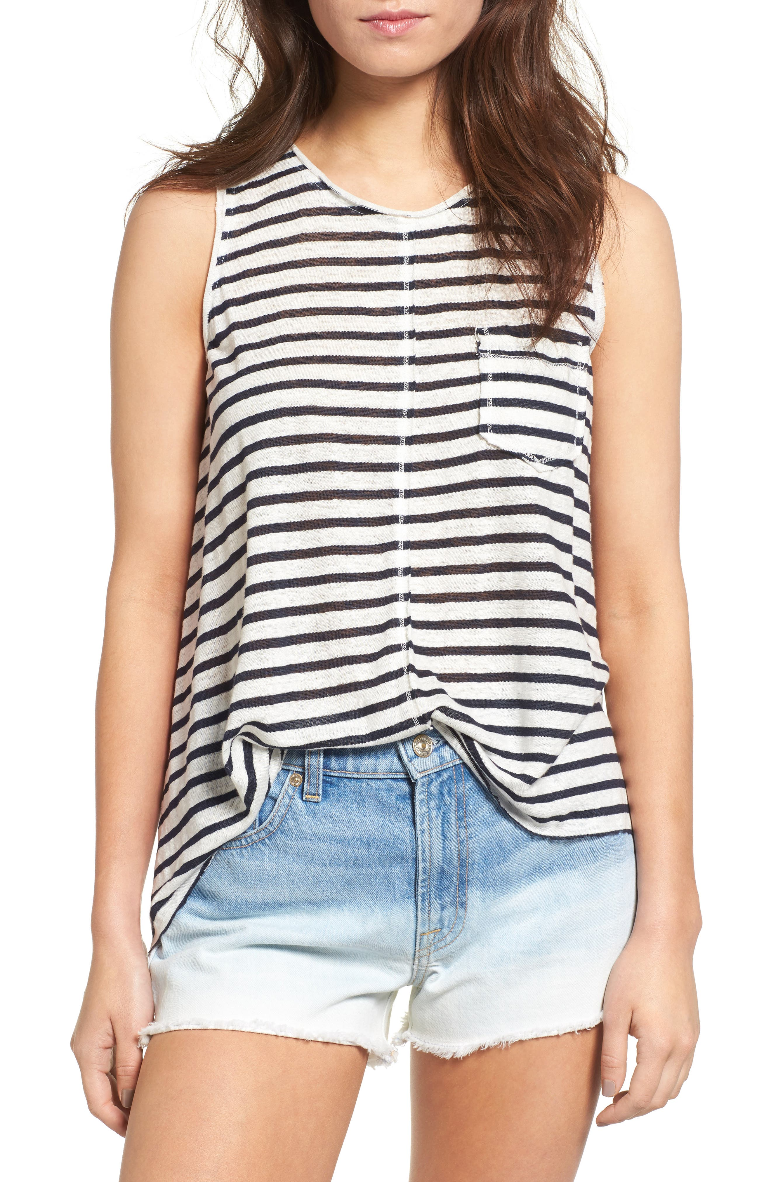 7 FOR ALL MANKIND<SUP>®</SUP> Split Back Linen Tank