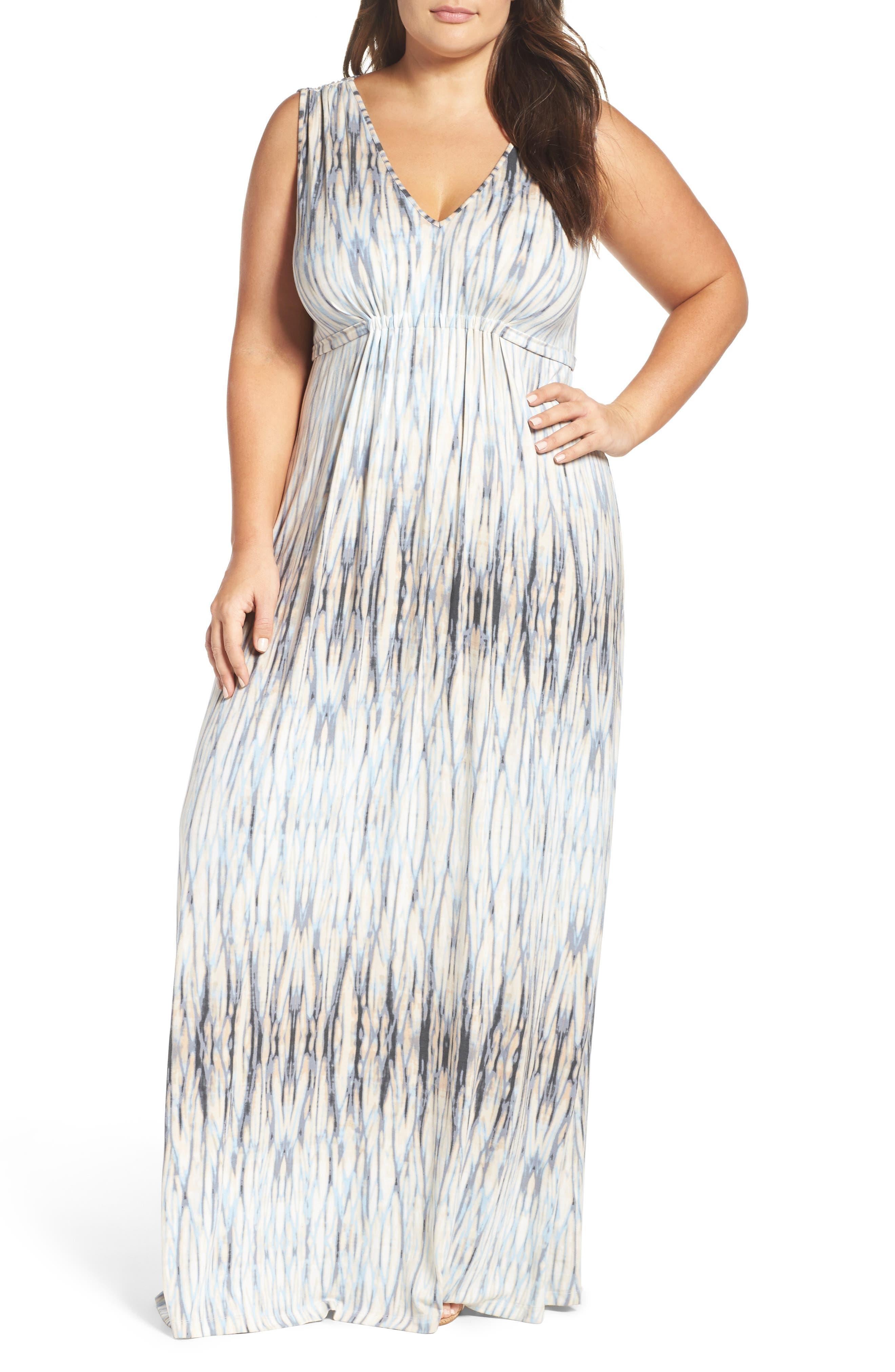 Grecia Sleeveless Jersey Maxi Dress,                             Main thumbnail 1, color,                             Water Reflections