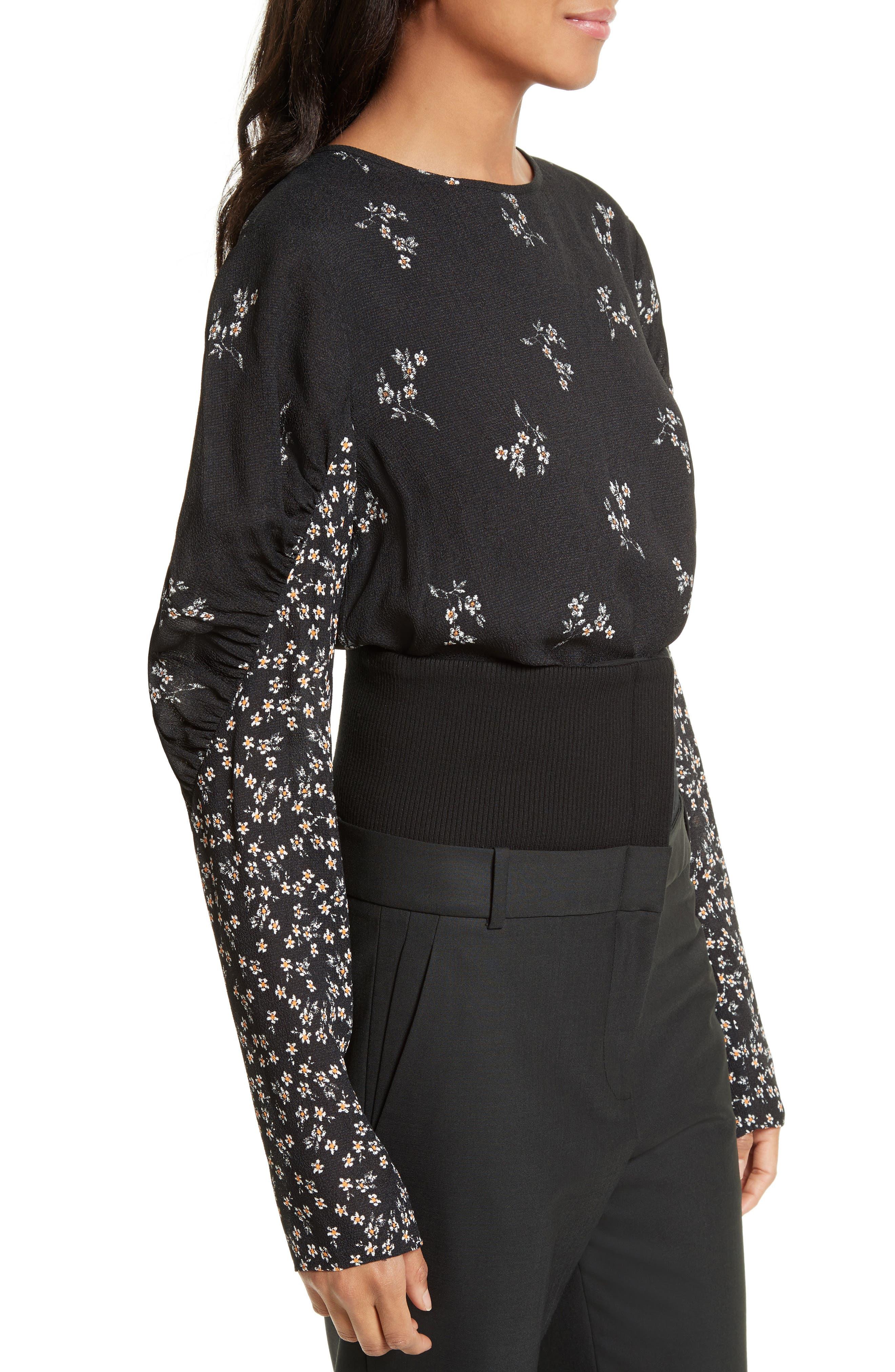 Florence Lili Floral Top,                             Alternate thumbnail 3, color,                             Black Multi