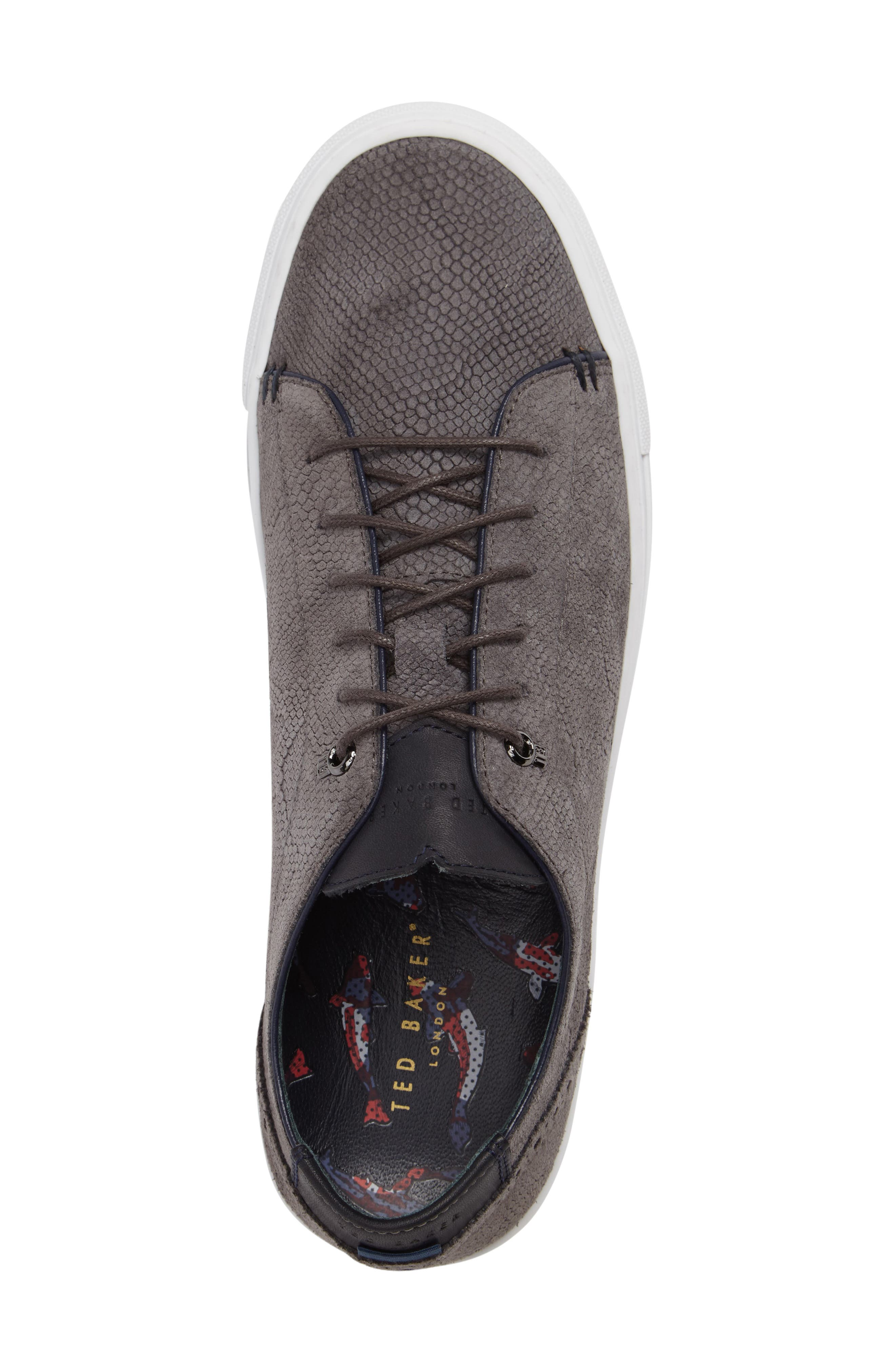 Duke Snake Embossed Sneaker,                             Alternate thumbnail 5, color,                             Dark Grey Suede