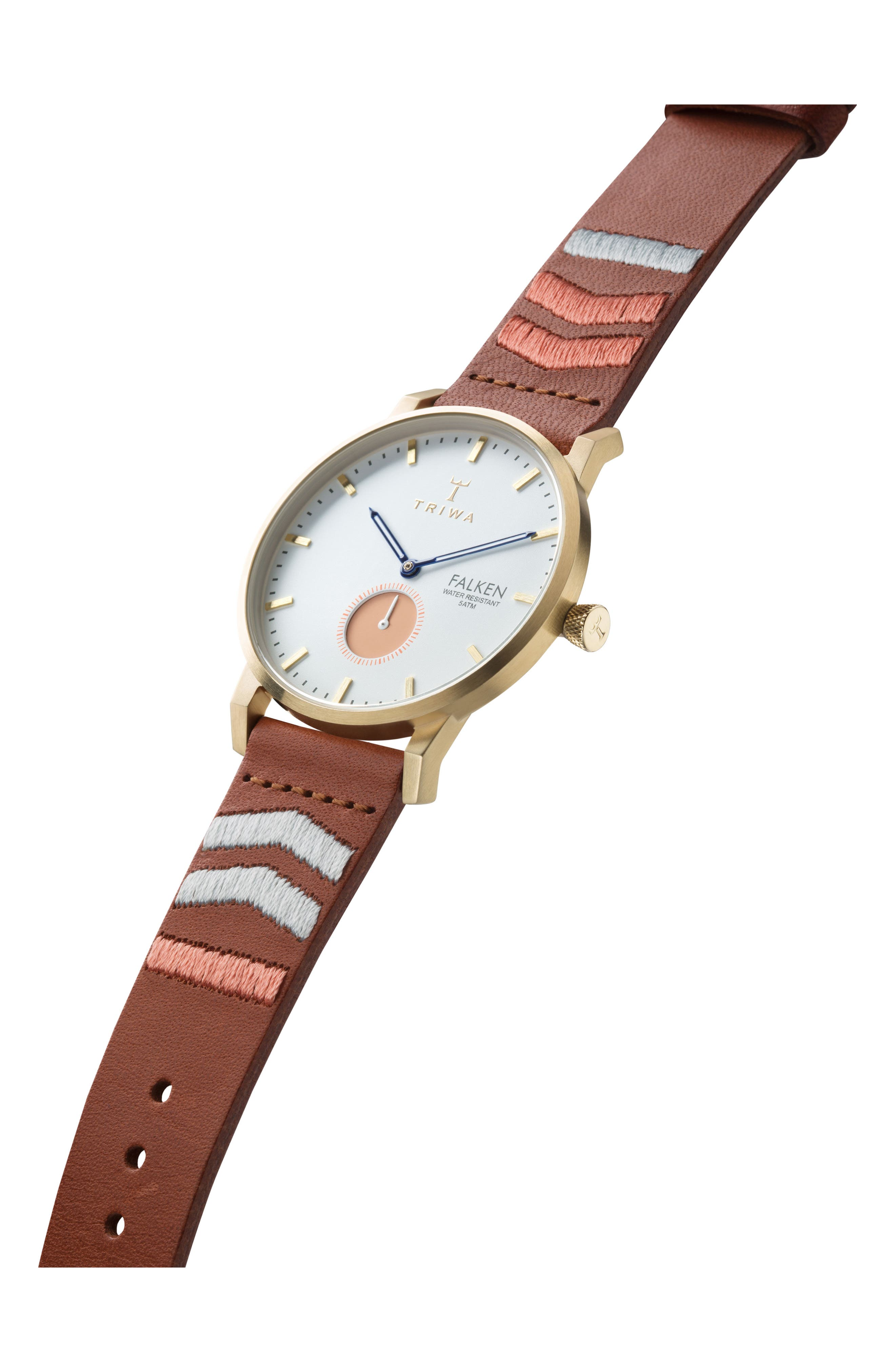 Alternate Image 2  - TRIWA Coral Falken Embroidered Leather Strap Watch, 38mm
