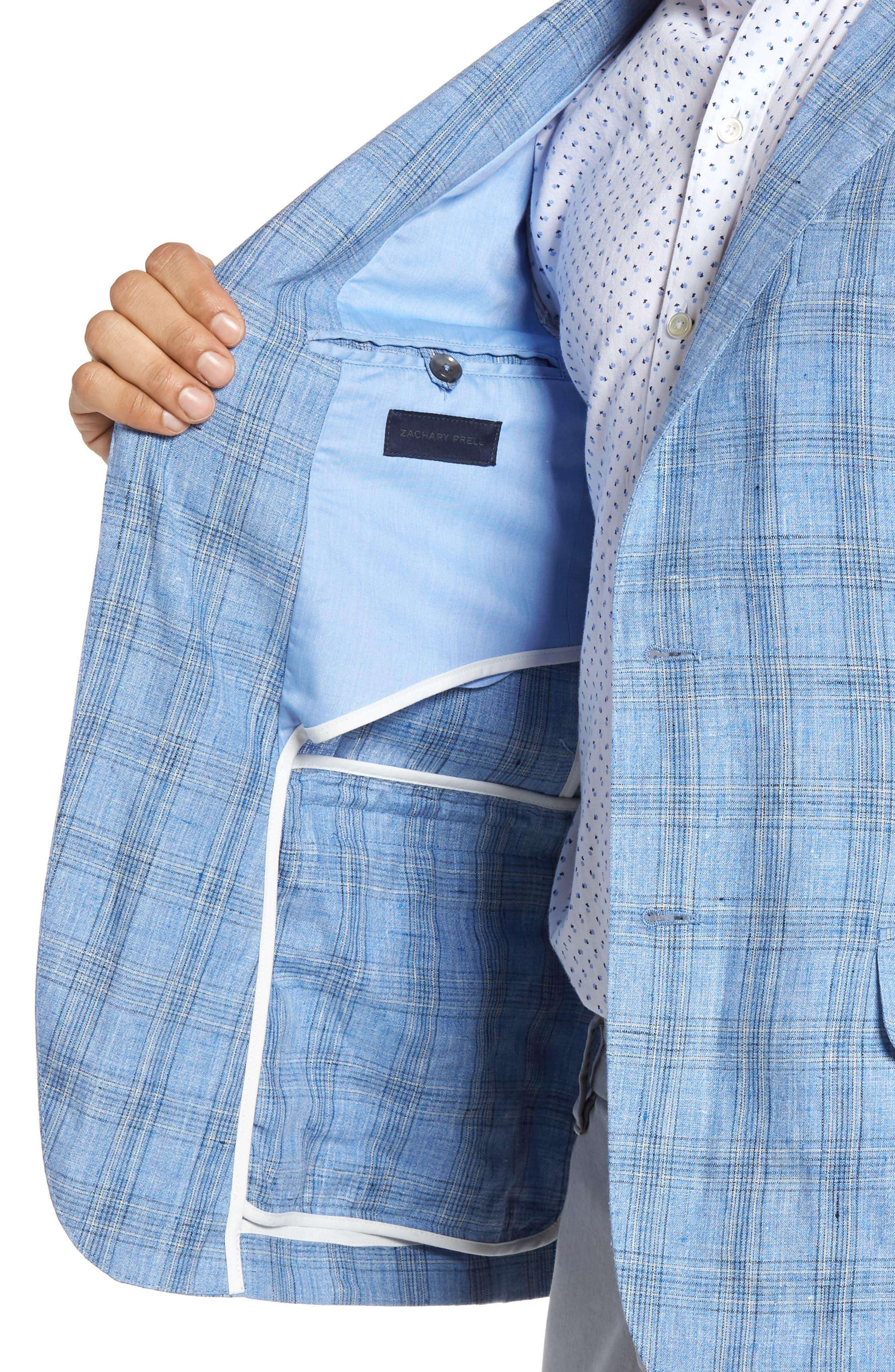 Laxus Plaid Linen Sport Coat,                             Alternate thumbnail 4, color,                             Light Blue
