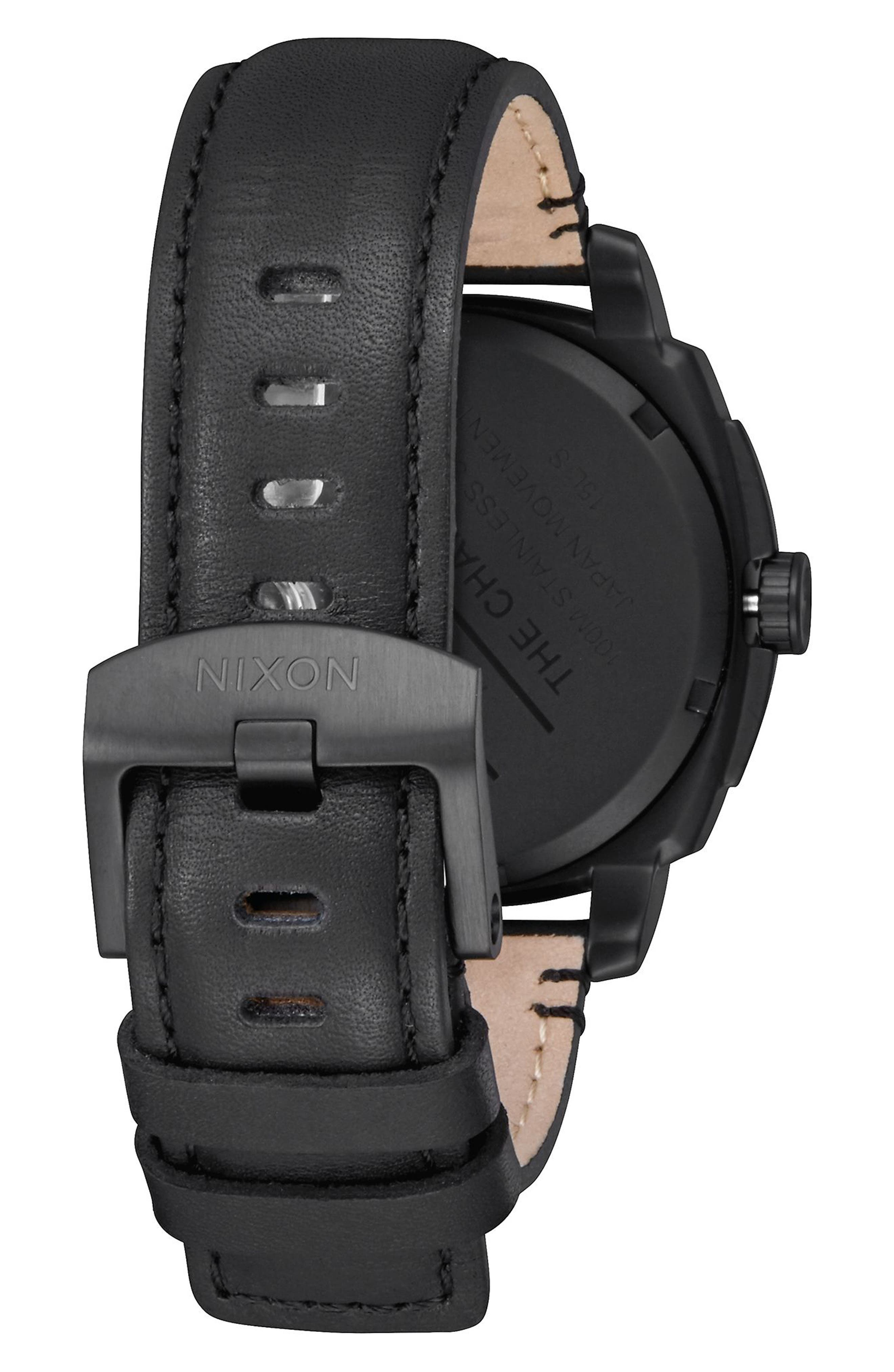 Alternate Image 2  - Nixon Charger Leather Strap Watch, 42mm