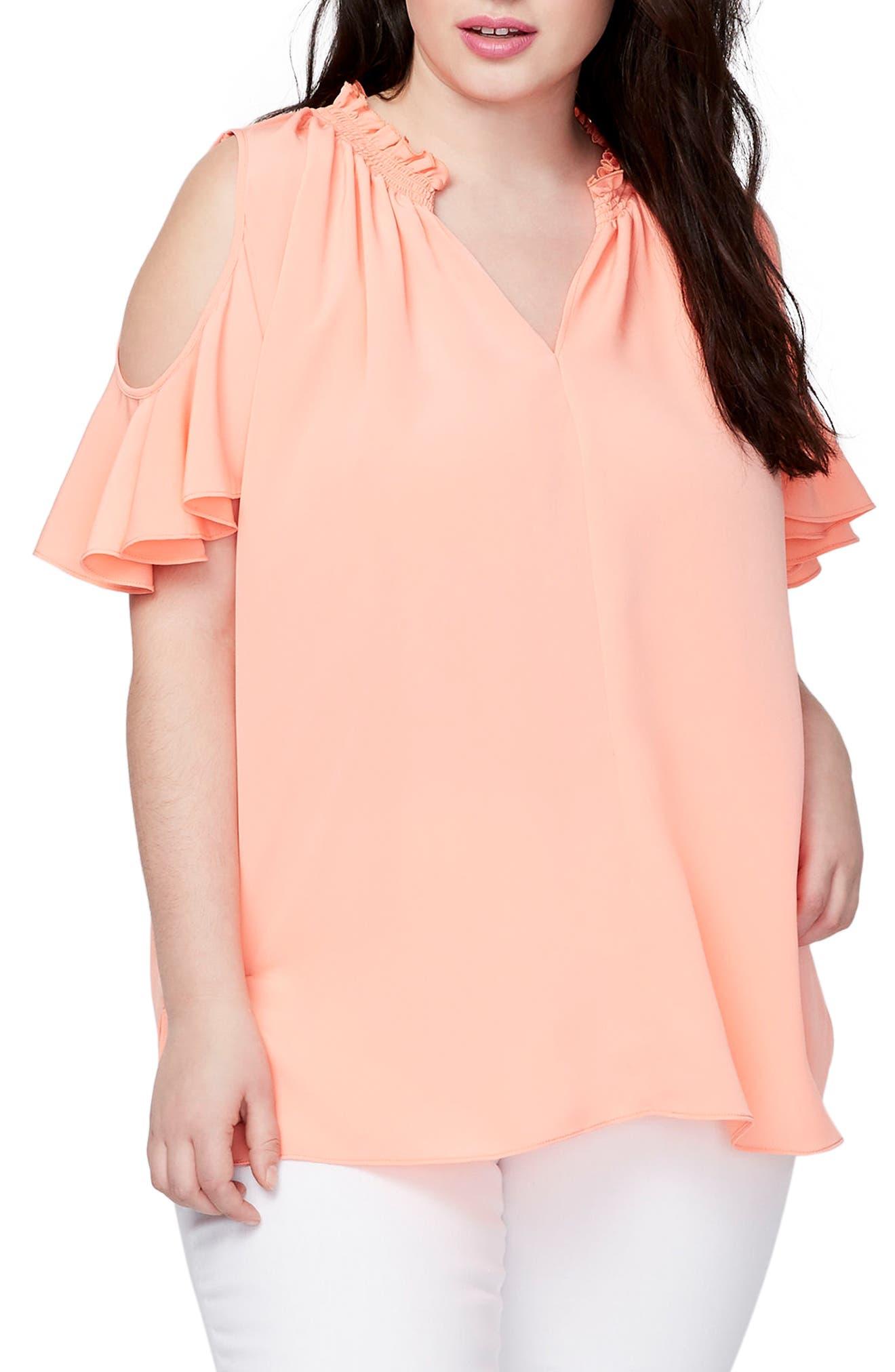 Vanessa Cold Shoulder Top,                         Main,                         color, Grapefruit