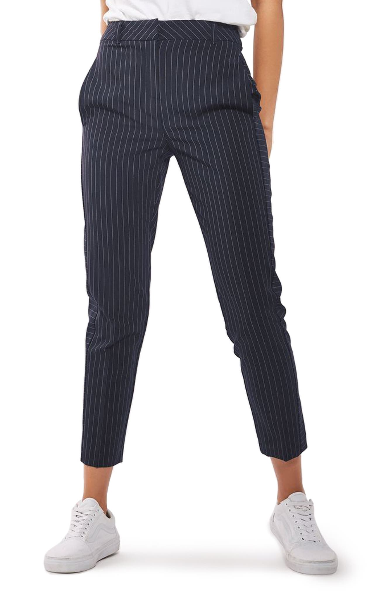 Cut About Pinstripe Cigarette Trousers,                         Main,                         color, Navy Blue