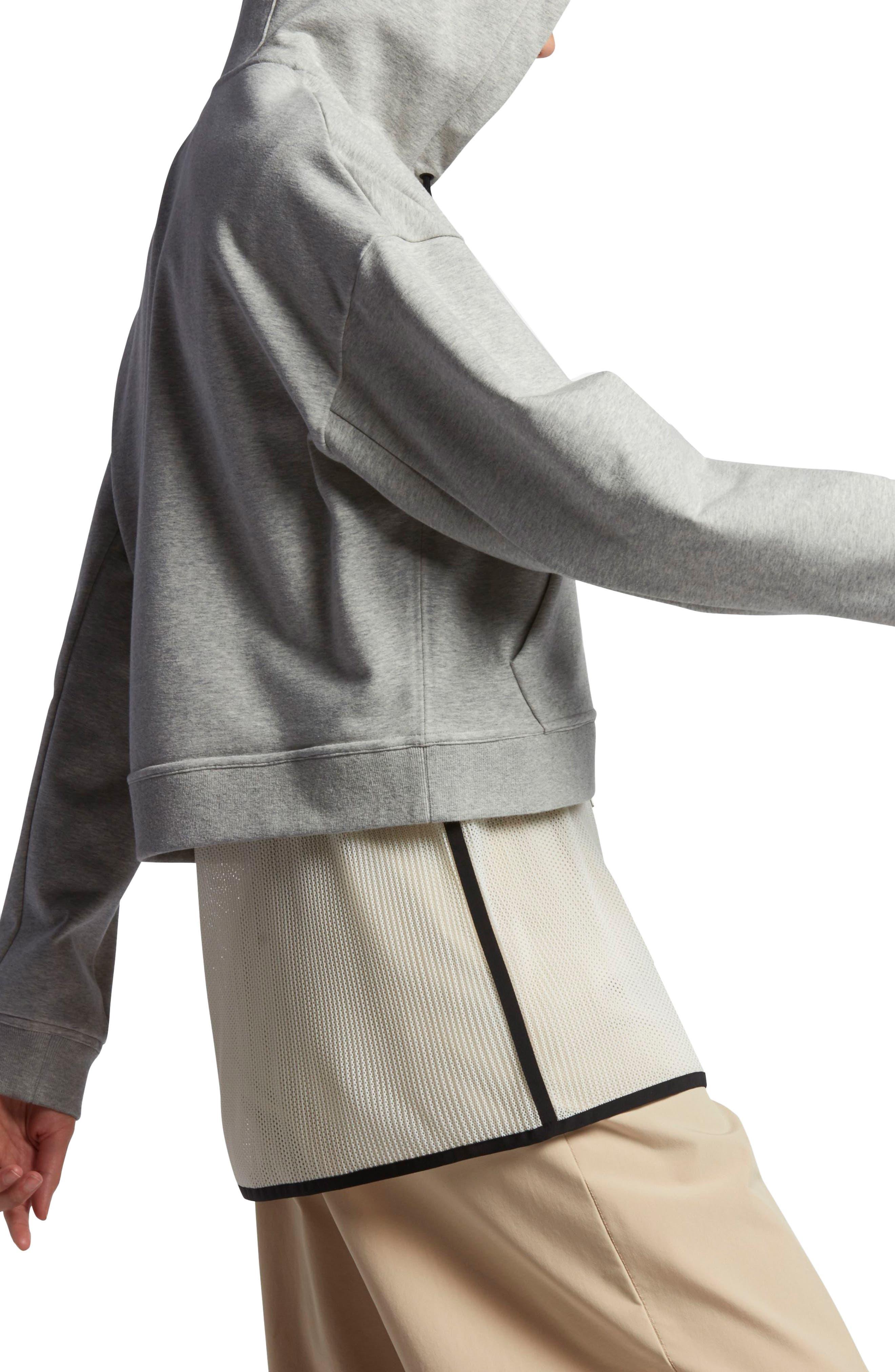 Lab Essentials Crop Hoodie,                             Alternate thumbnail 3, color,                             Grey Heather/ Pale Grey/ Black