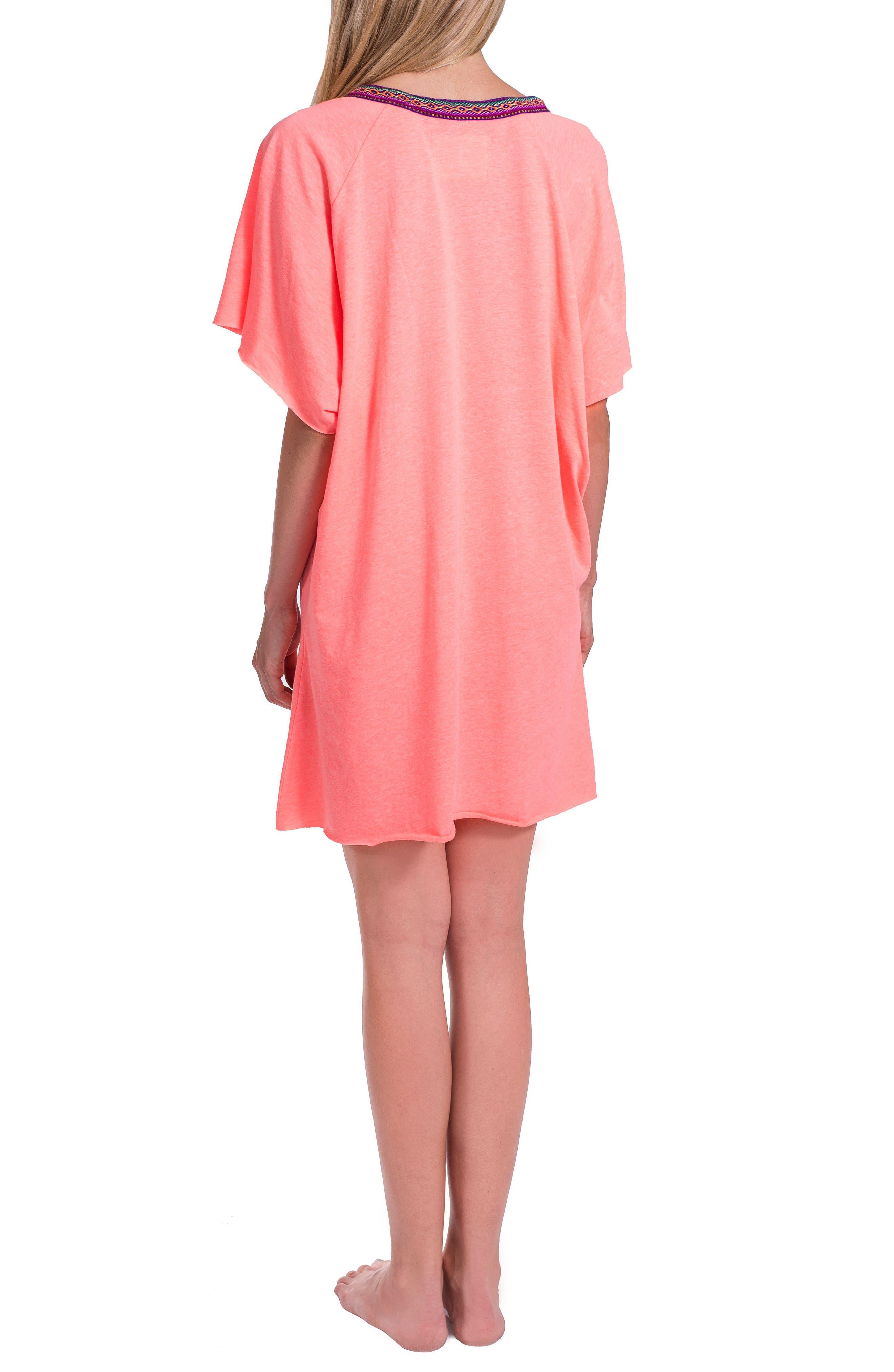Abaya Cover-Up Minidress,                             Alternate thumbnail 2, color,                             Coral