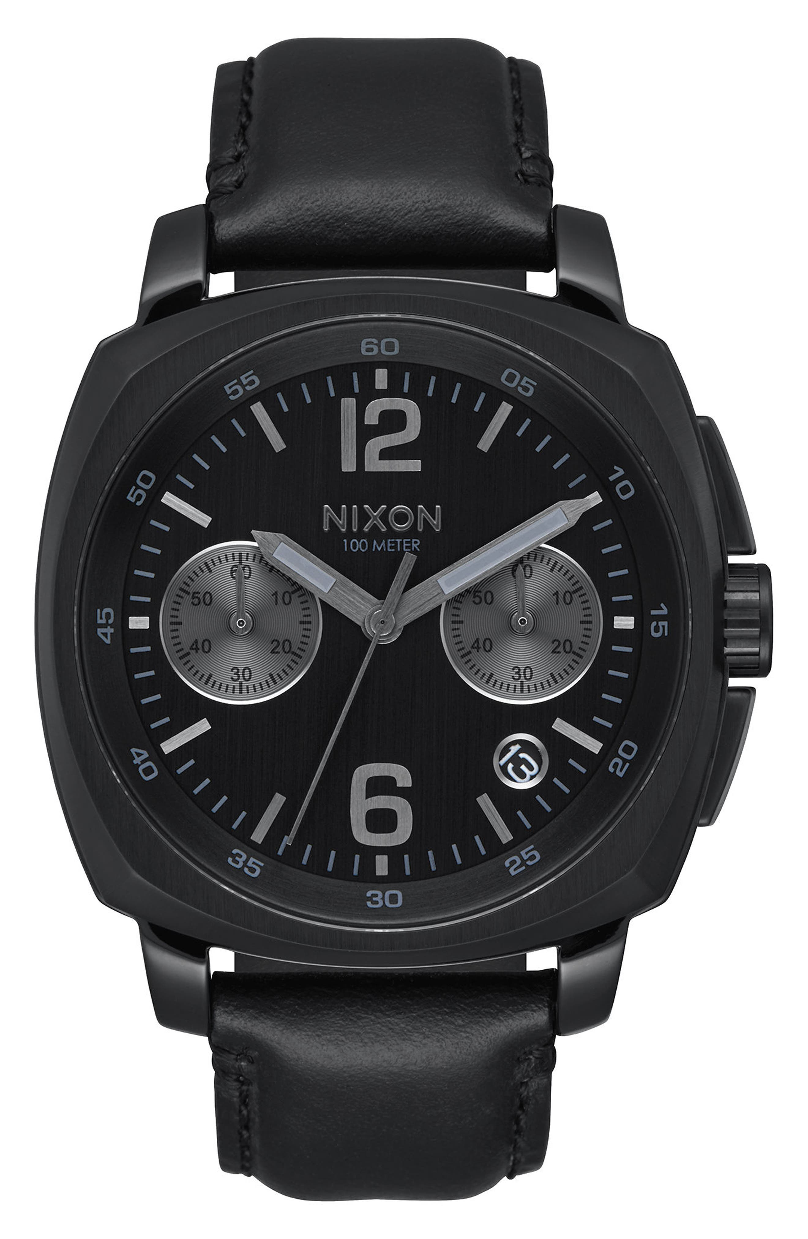 Alternate Image 1 Selected - Nixon Charger Chronograph Leather Strap Watch, 42mm