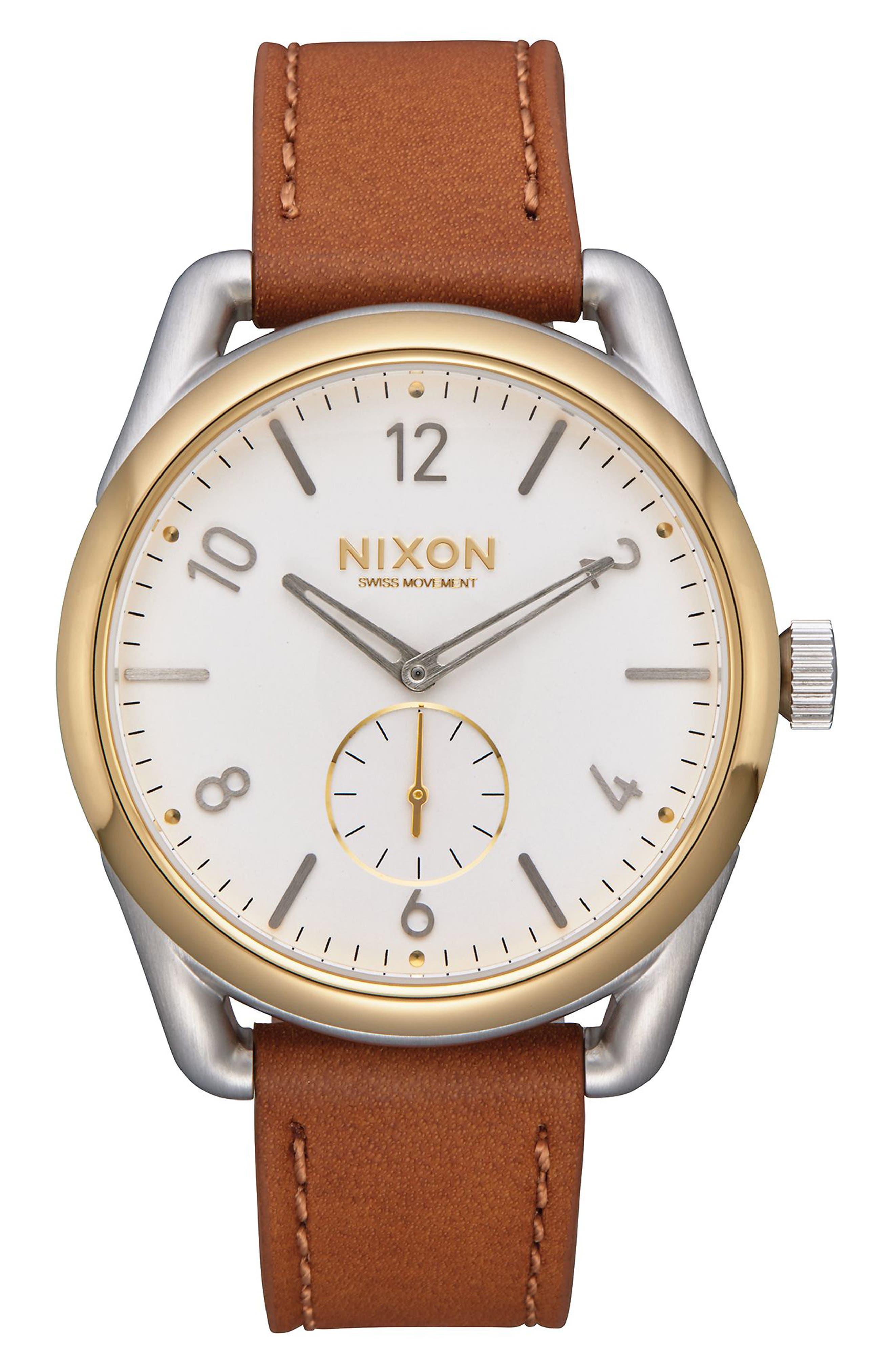 Nixon C39 Leather Strap Watch, 39mm