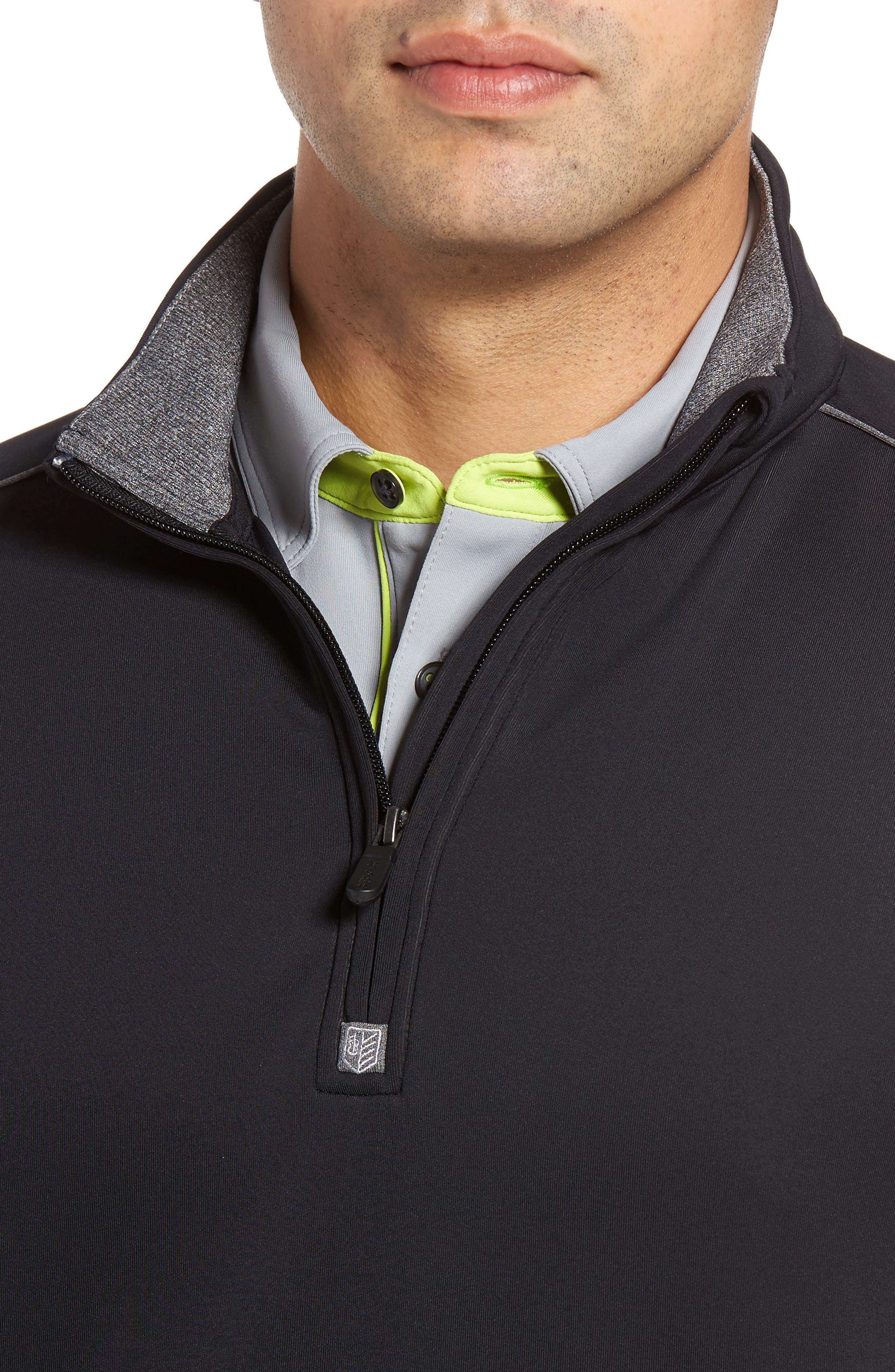 Tech Quarter Zip Pullover,                             Alternate thumbnail 4, color,                             Black