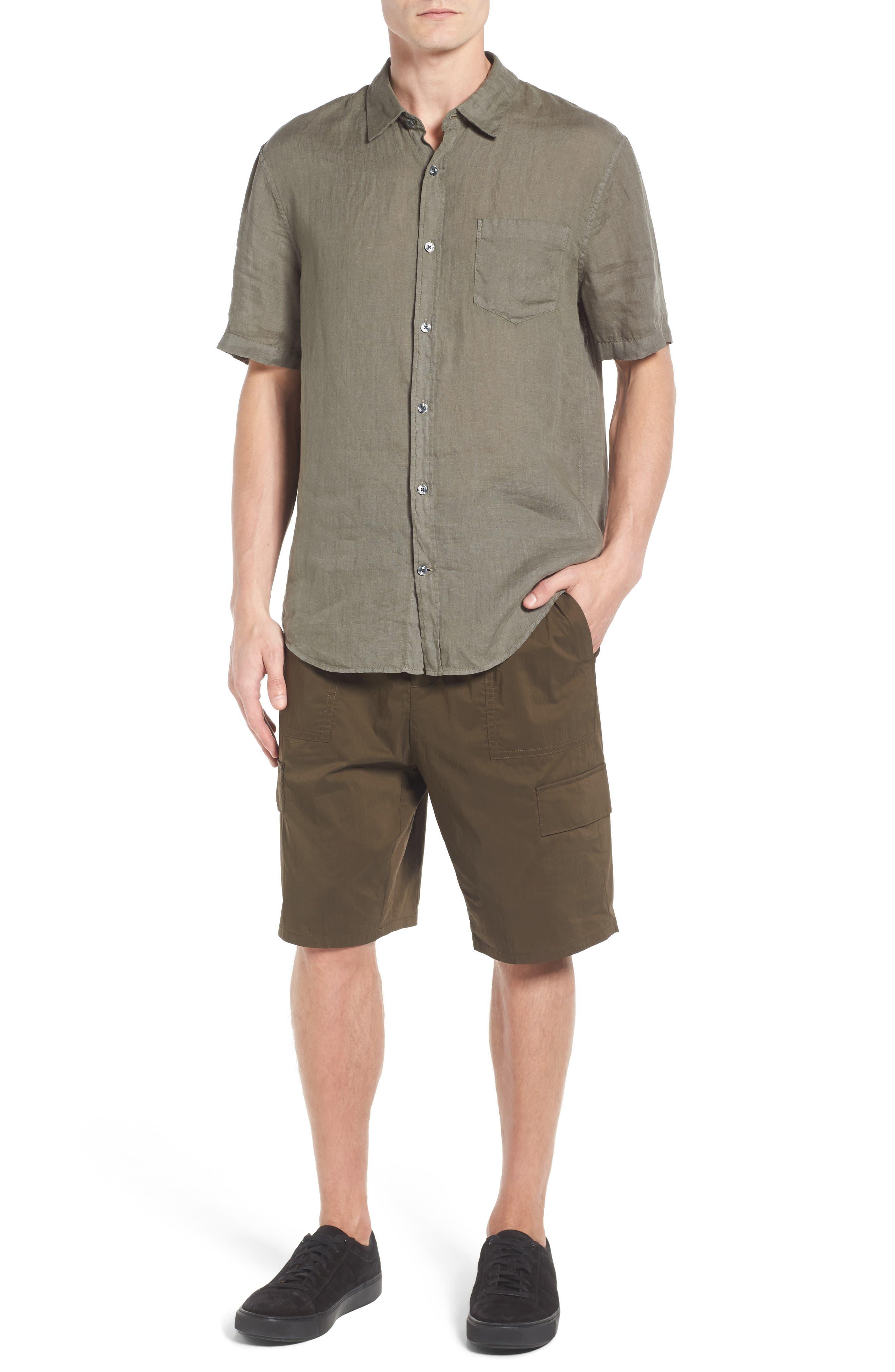 Trim Fit Linen Sport Shirt,                             Alternate thumbnail 6, color,                             Desert Green