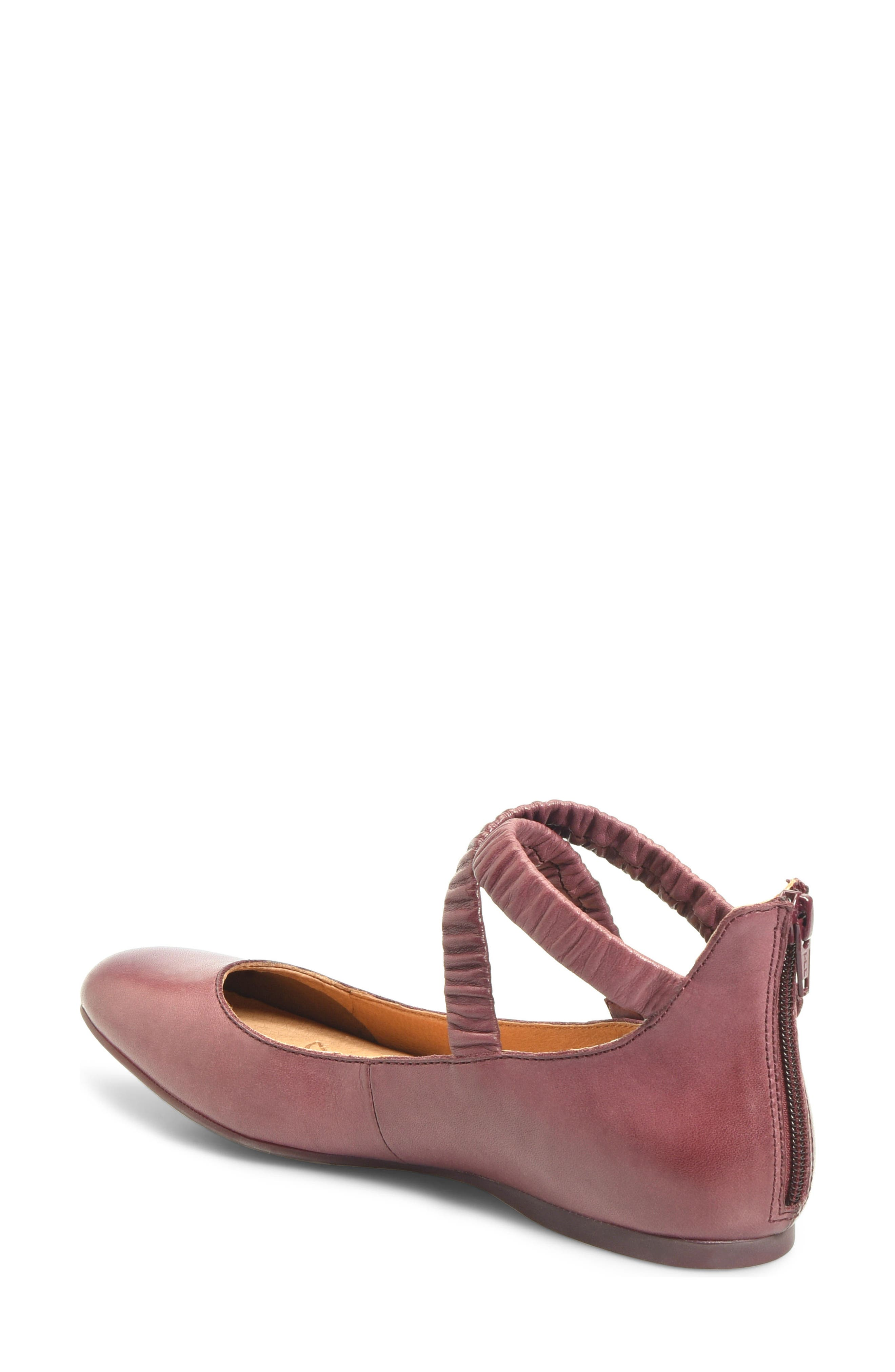 Leif Flat,                             Alternate thumbnail 2, color,                             Burgundy Leather