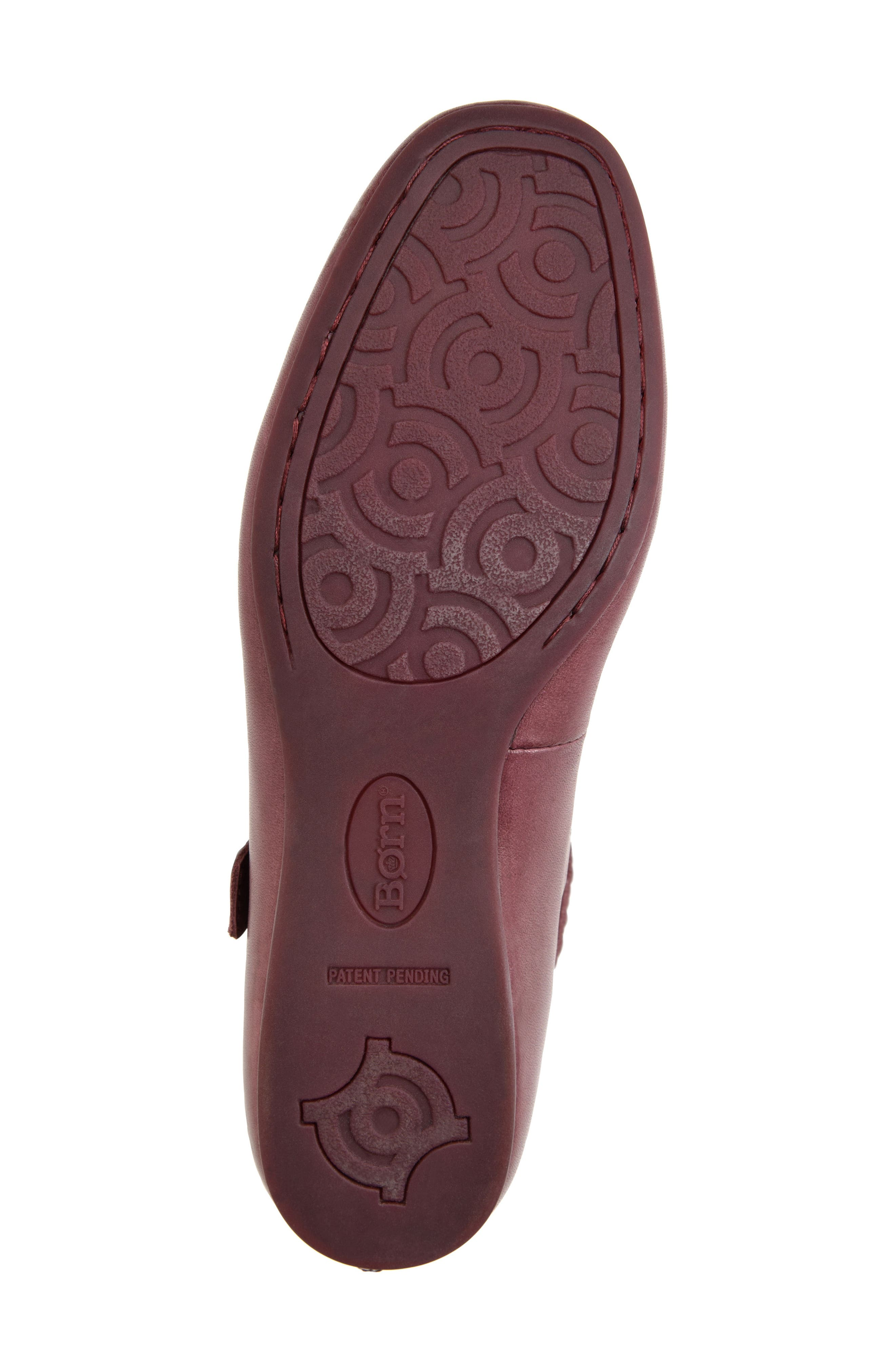 Leif Flat,                             Alternate thumbnail 4, color,                             Burgundy Leather